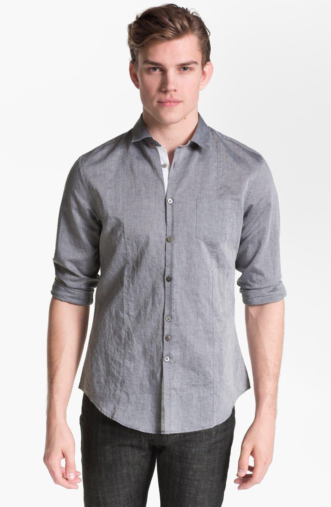 Slim Fit Shirt,                         Main,                         color, Metal Black