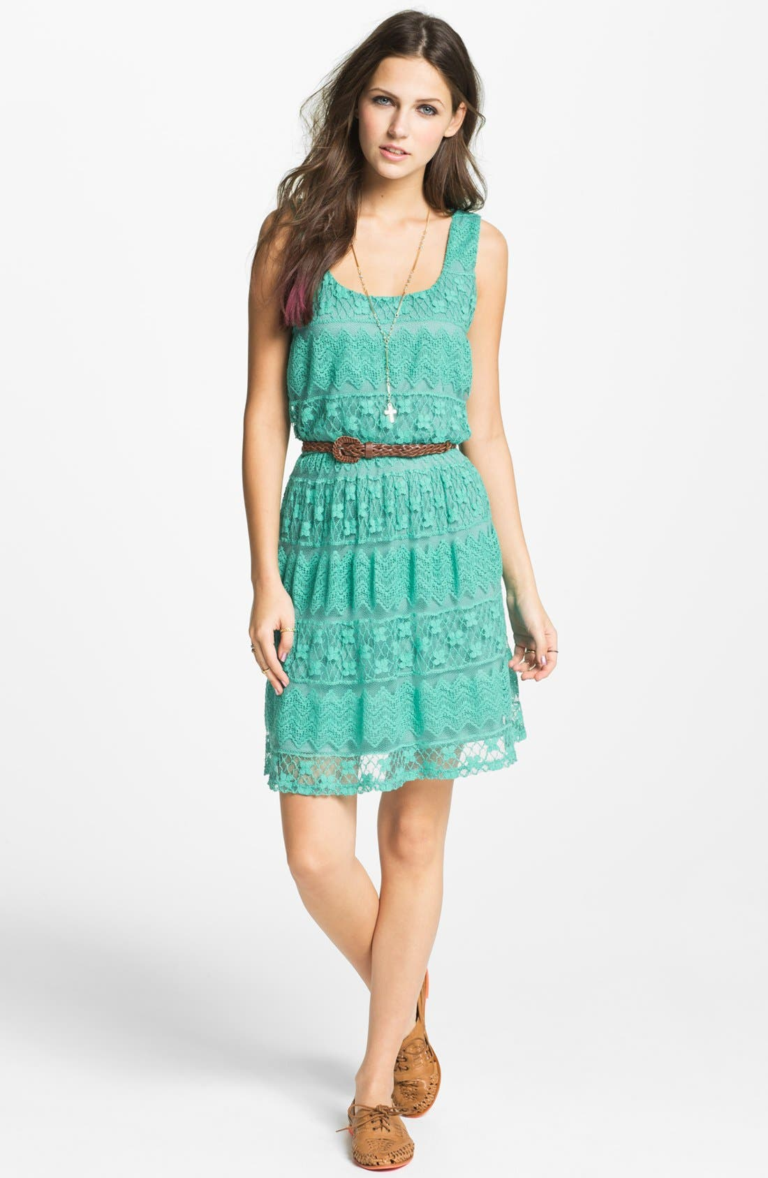 Alternate Image 1 Selected - As U Wish Tiered Lace Dress (Juniors) (Online Only)