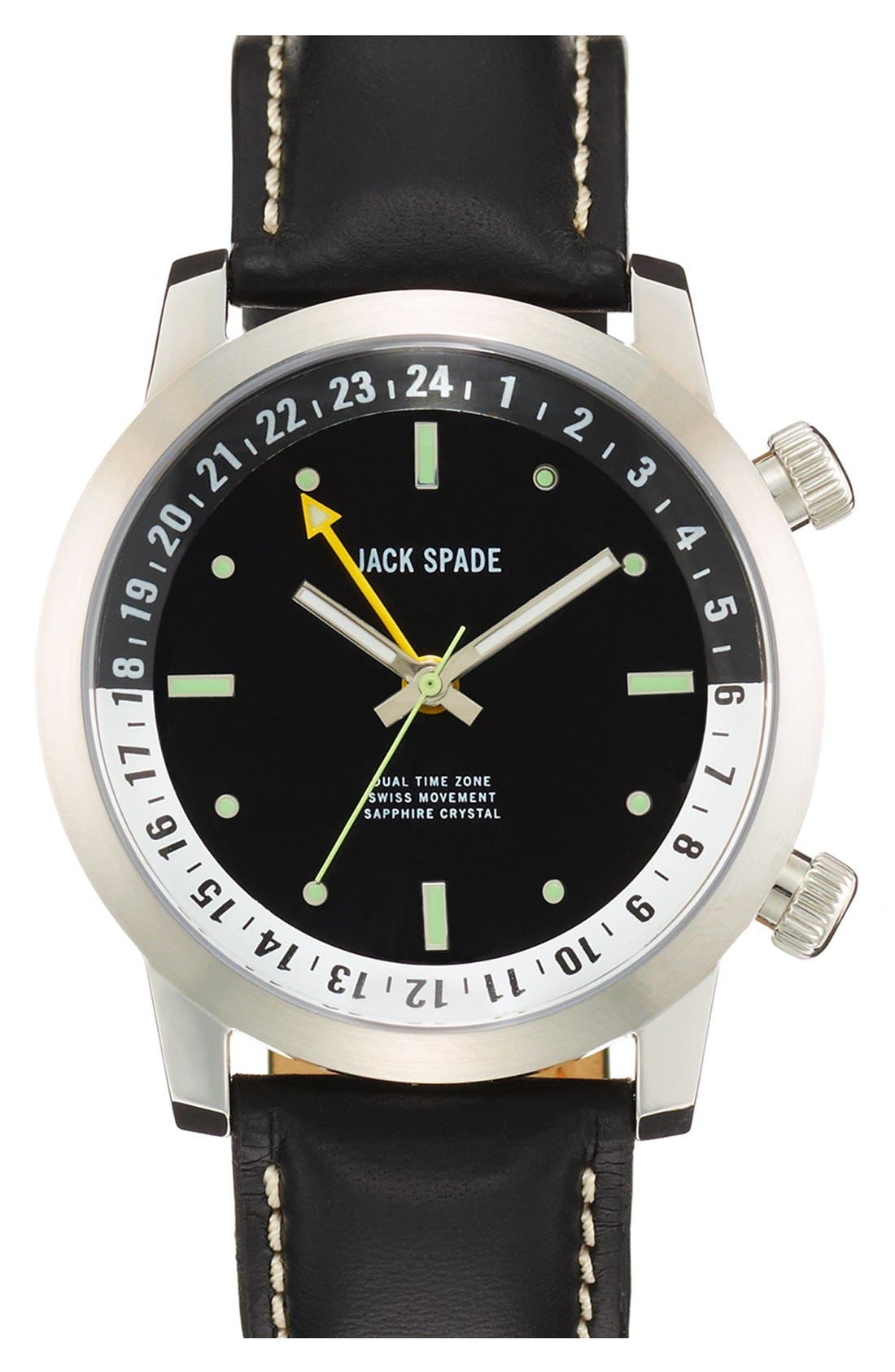 Main Image - Jack Spade 'Stanton' Dual Time Leather Strap Watch, 43mm