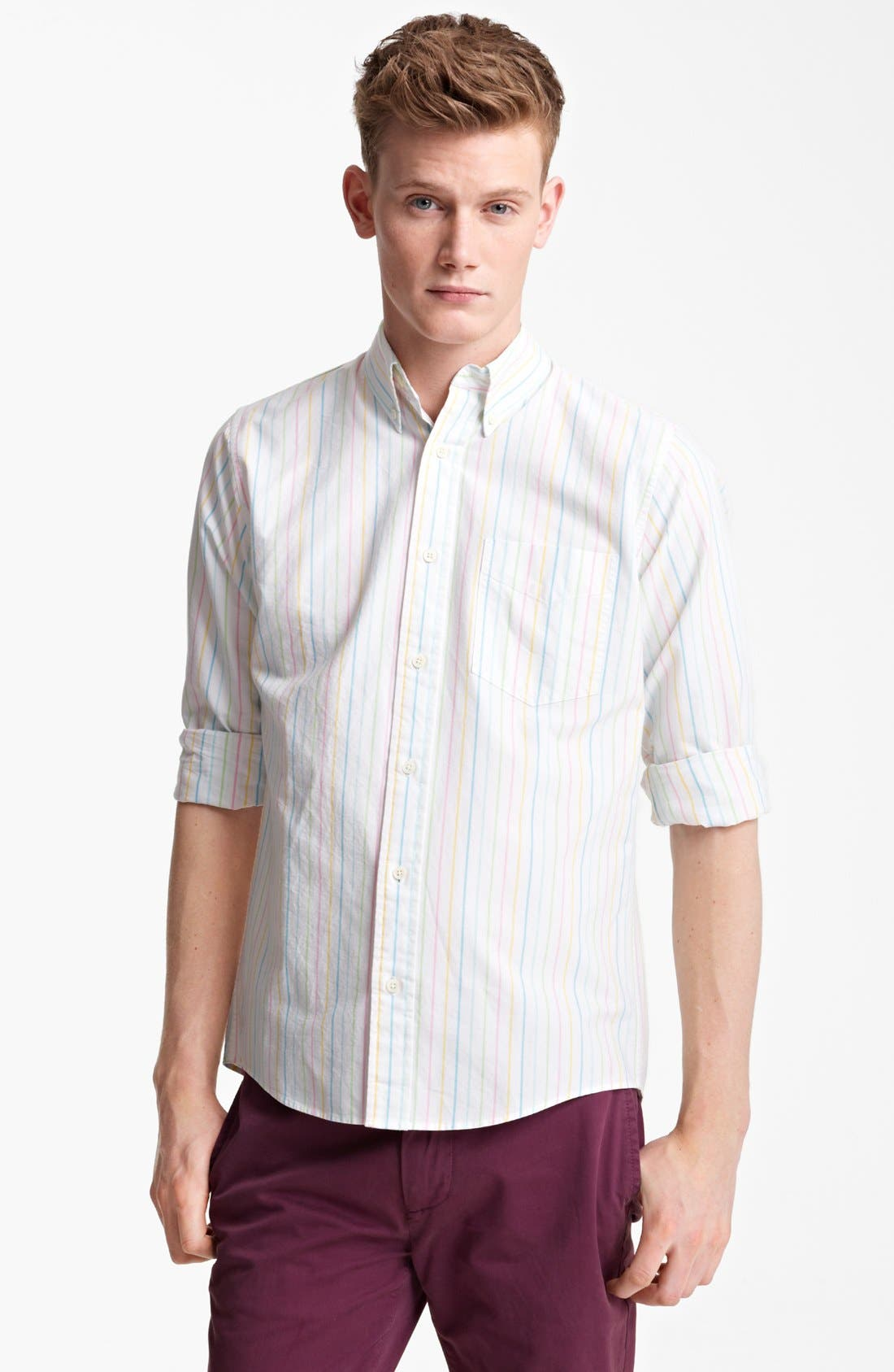 Alternate Image 1 Selected - Jack Spade Rainbow Stripe Oxford Shirt