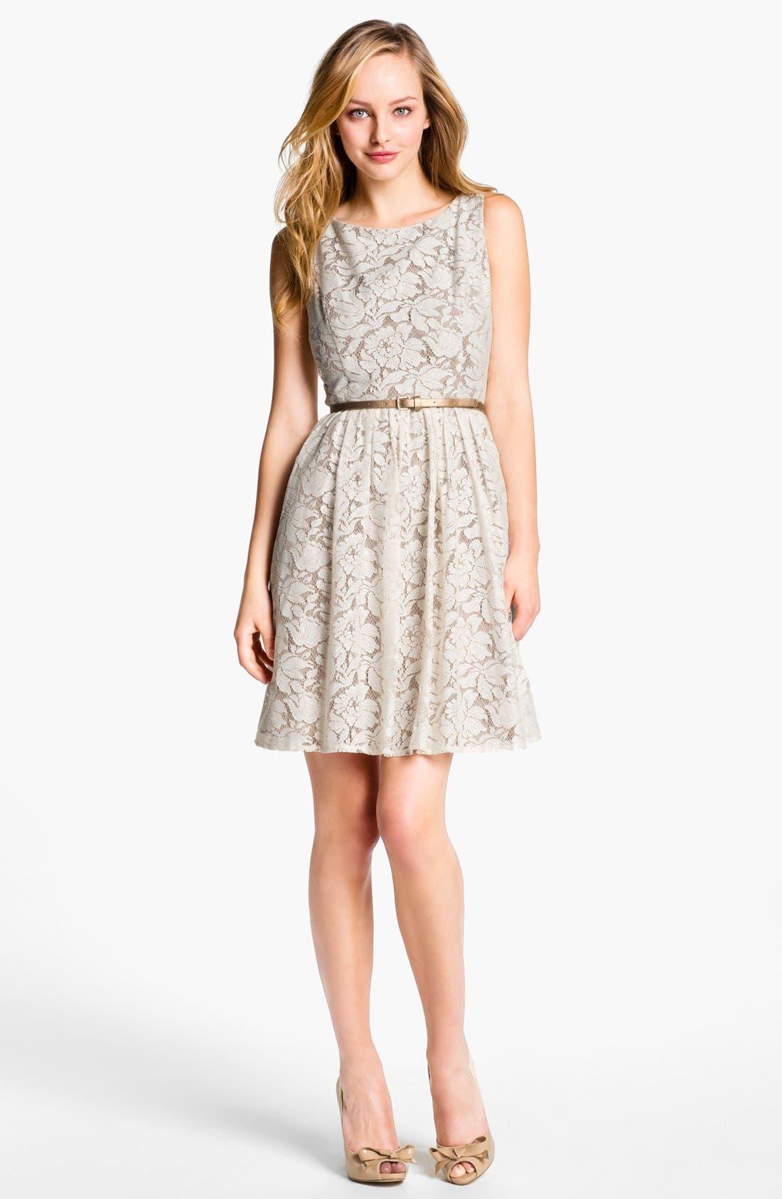 Alternate Image 1 Selected - Eliza J Lace Fit & Flare Dress (Petite)