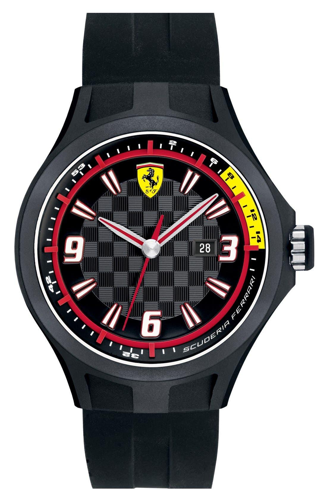 Alternate Image 1 Selected - Scuderia Ferrari 'Pit Crew' Silicone Strap Watch, 44mm