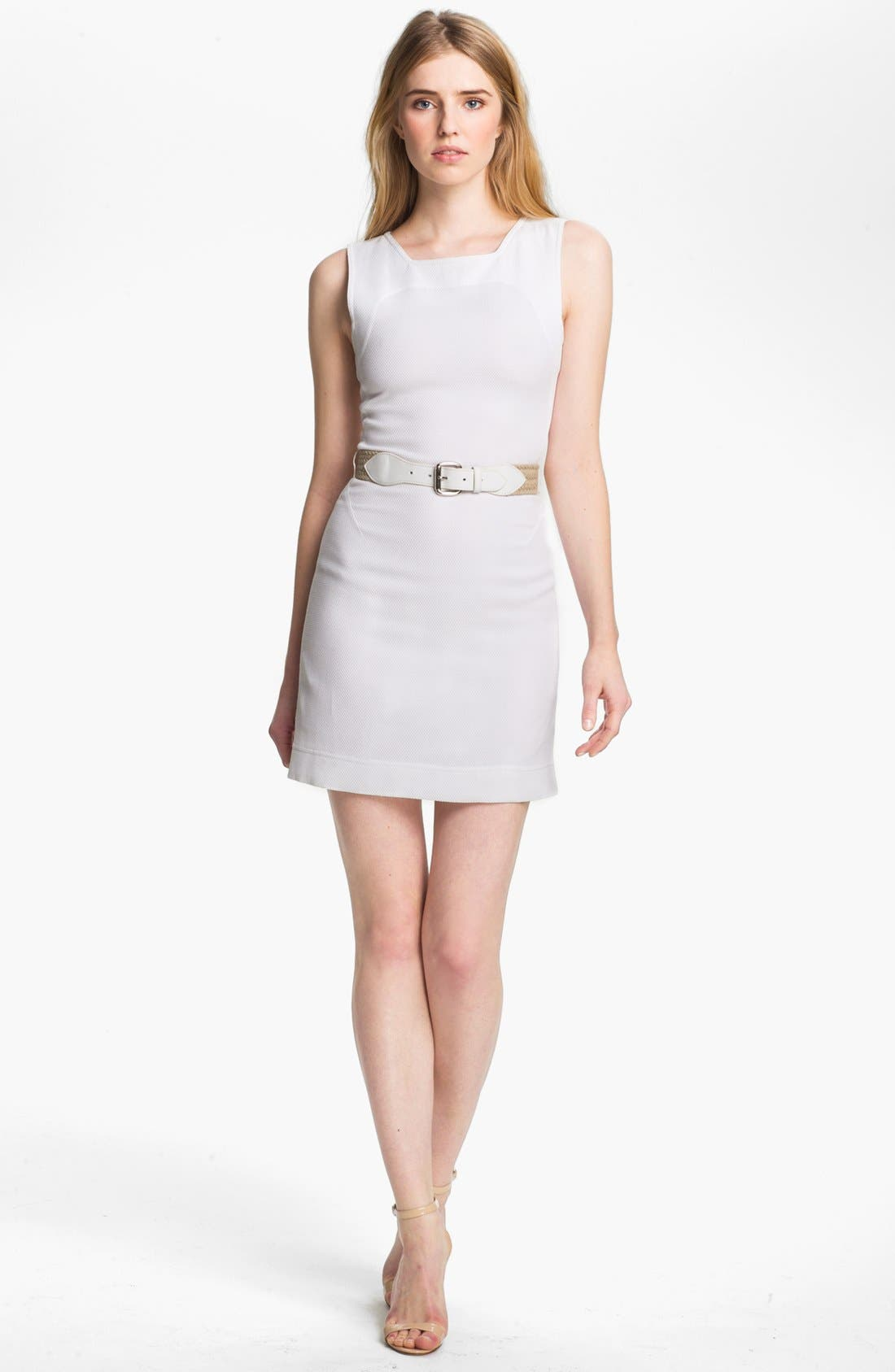 Main Image - L'AGENCE Belted Square Neck Tennis Dress