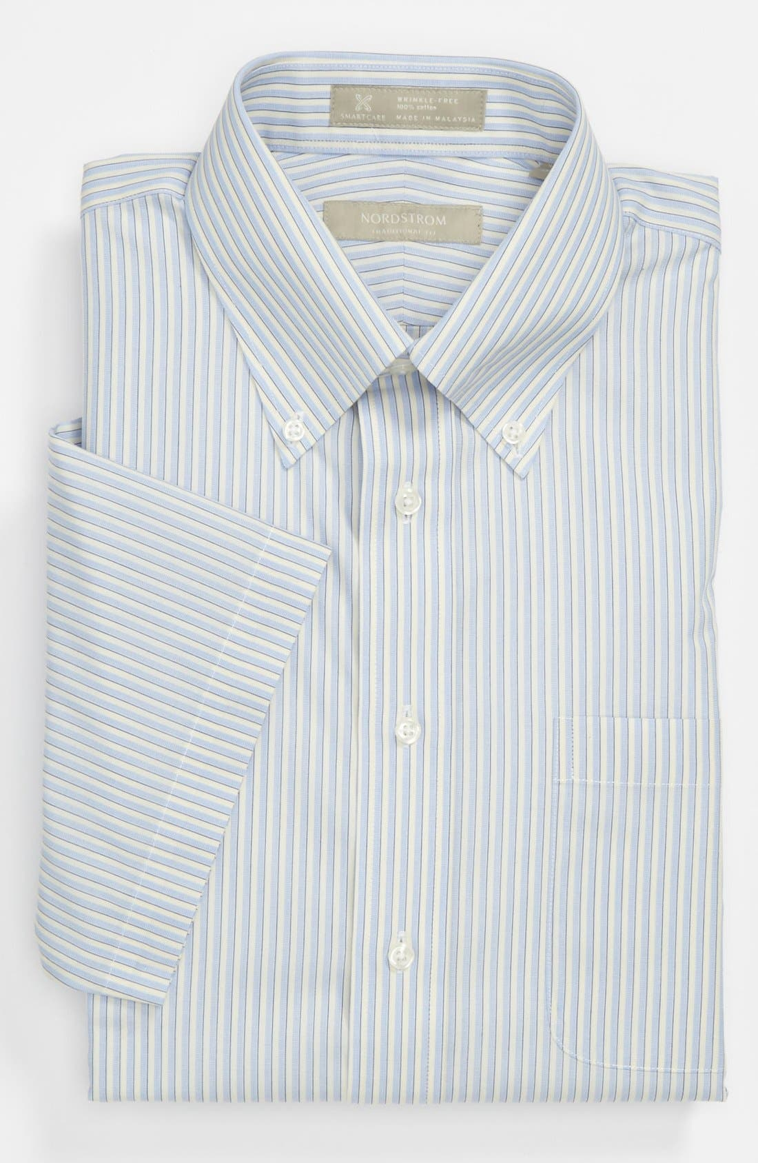 Main Image - Nordstrom Smartcare™ Wrinkle Free Traditional Fit Short Sleeve Dress Shirt (Online Only)