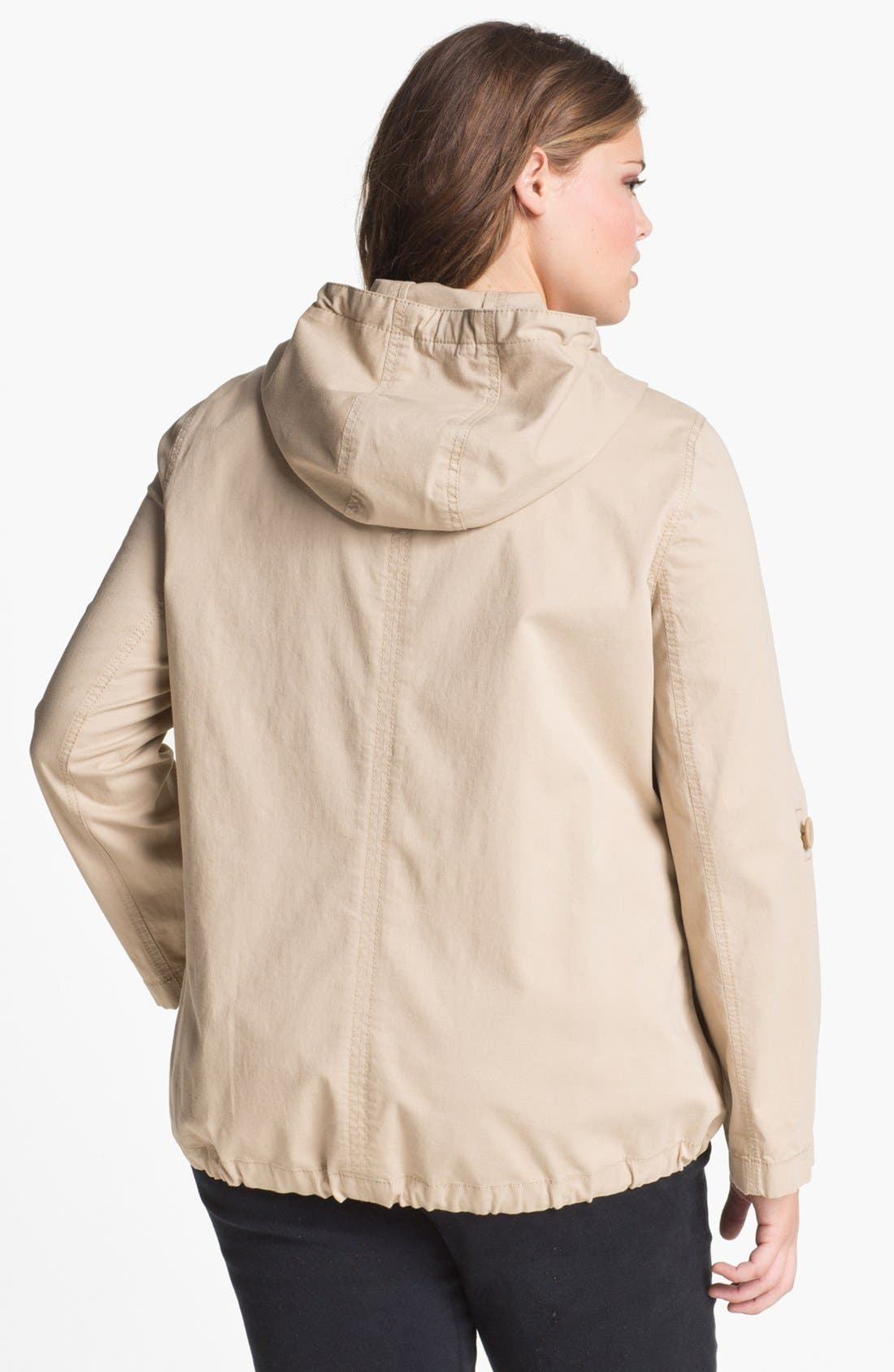 Alternate Image 2  - Sejour 'Megan' Front Zip Hooded Jacket (Plus Size)