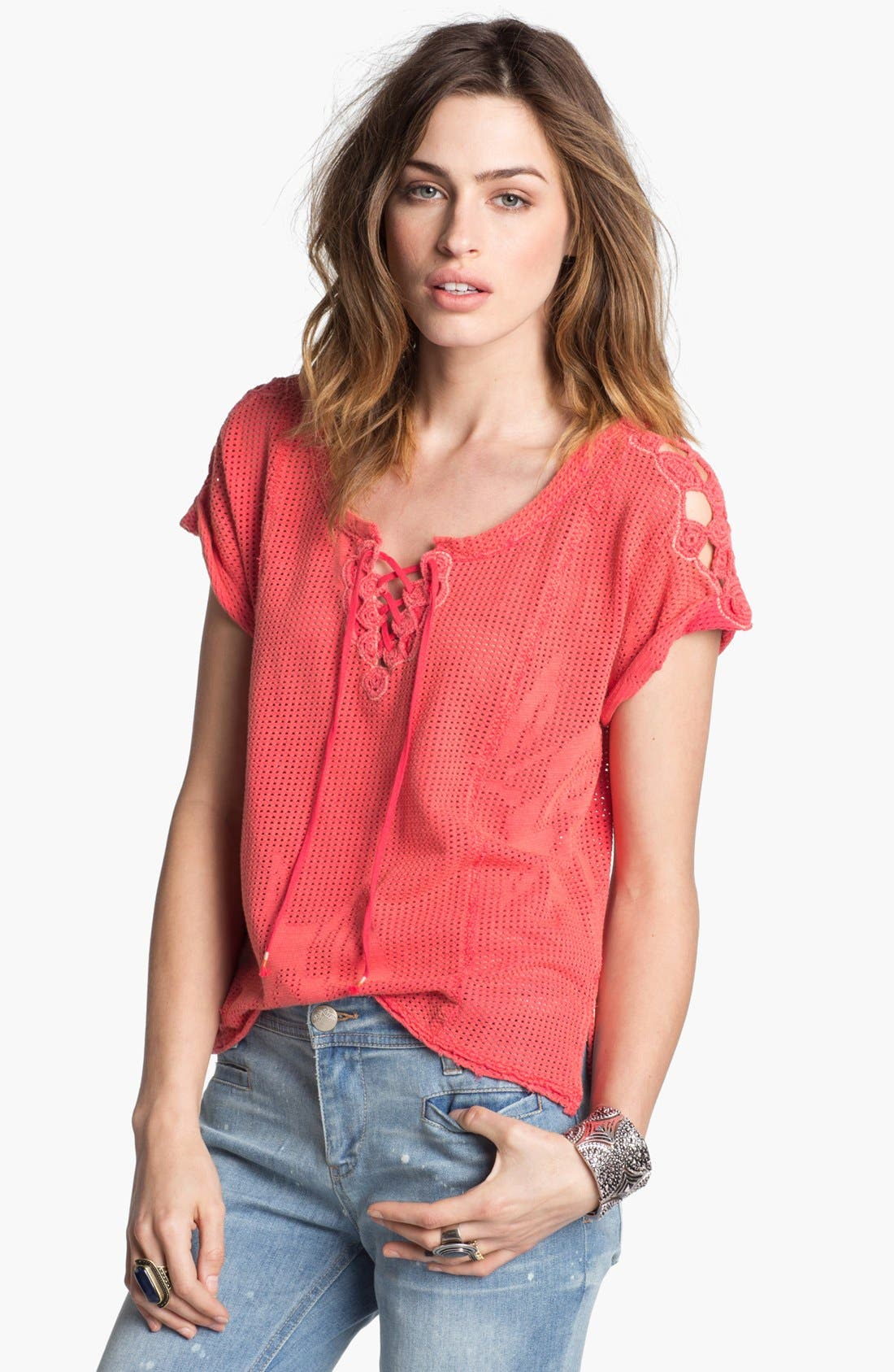 Main Image - Free People 'Strawberry Fields' Lace Neck Mesh Top