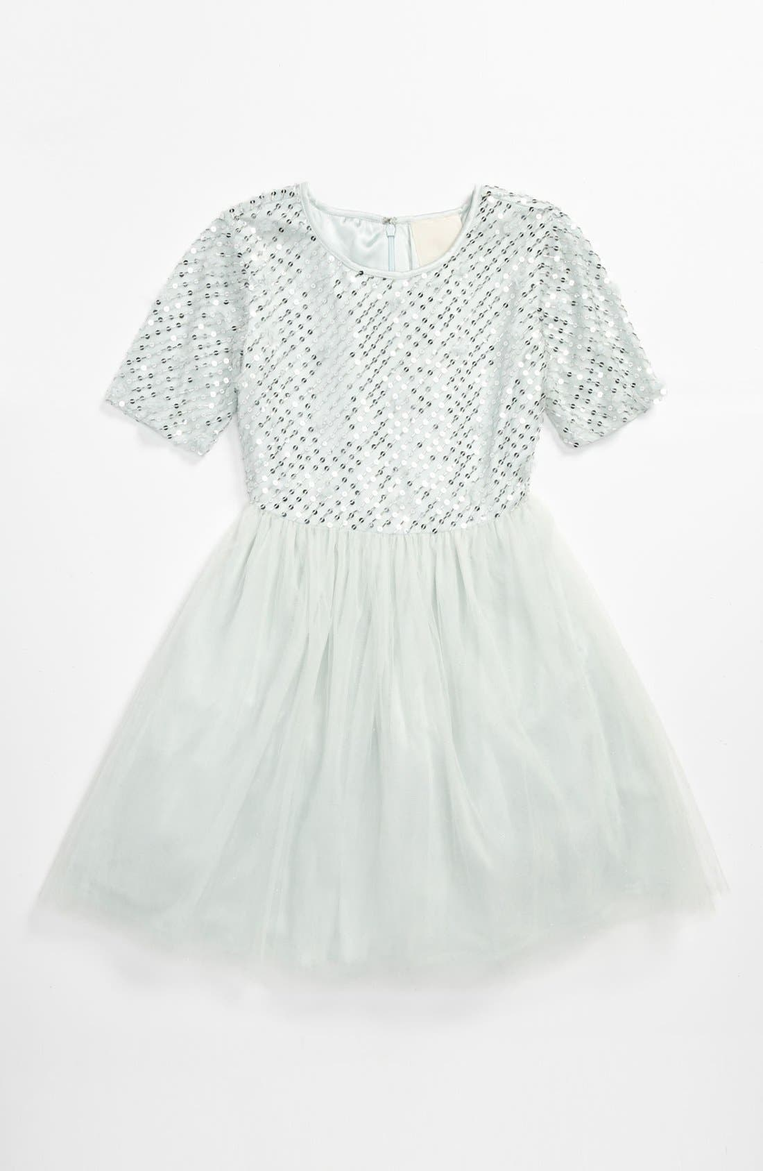 Alternate Image 1 Selected - La Piccola Danza Kidswear Elbow Sleeve Beaded Dress (Big Girls)