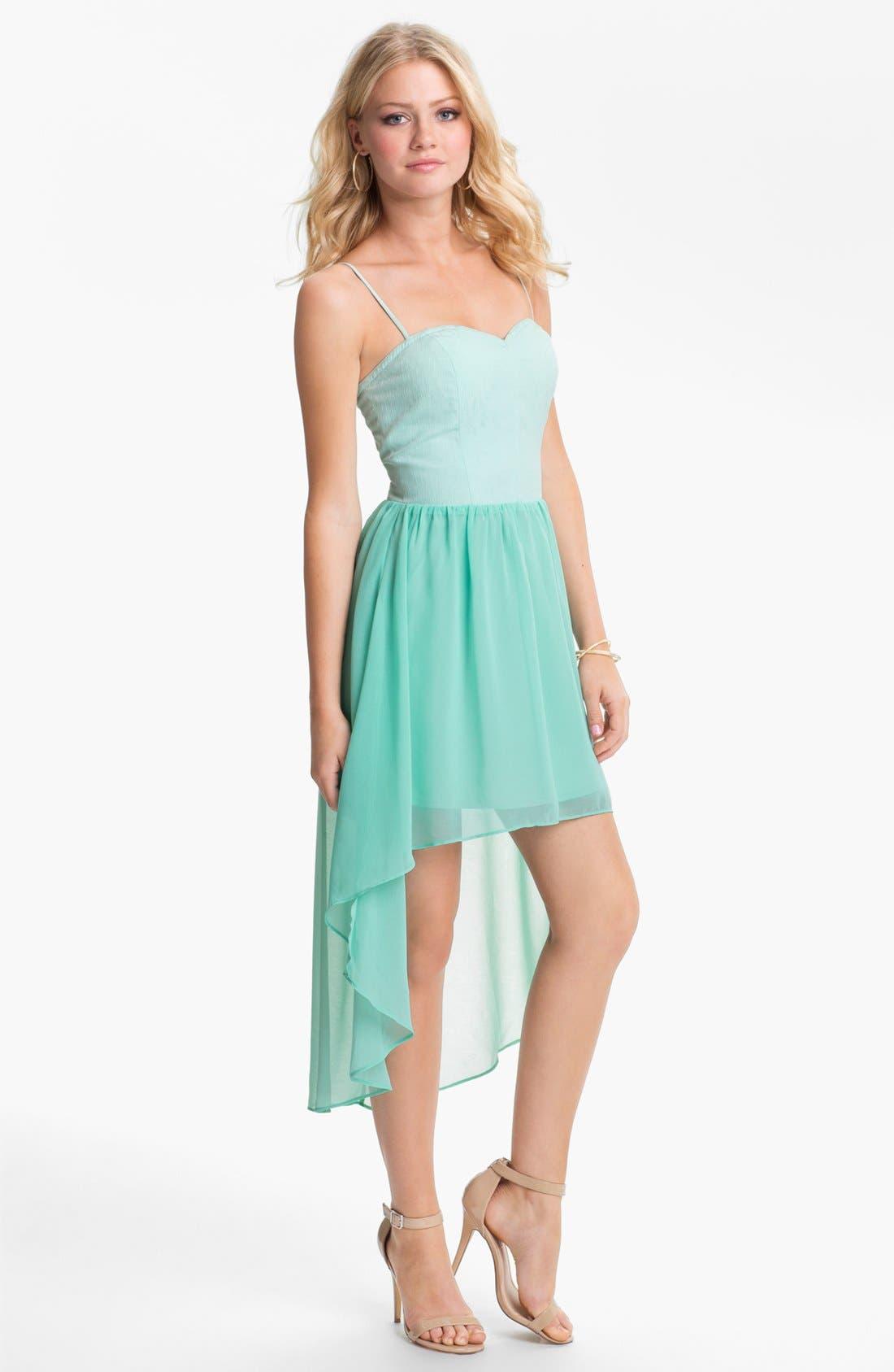 Alternate Image 1 Selected - En Crème High/Low Bustier Dress (Juniors)