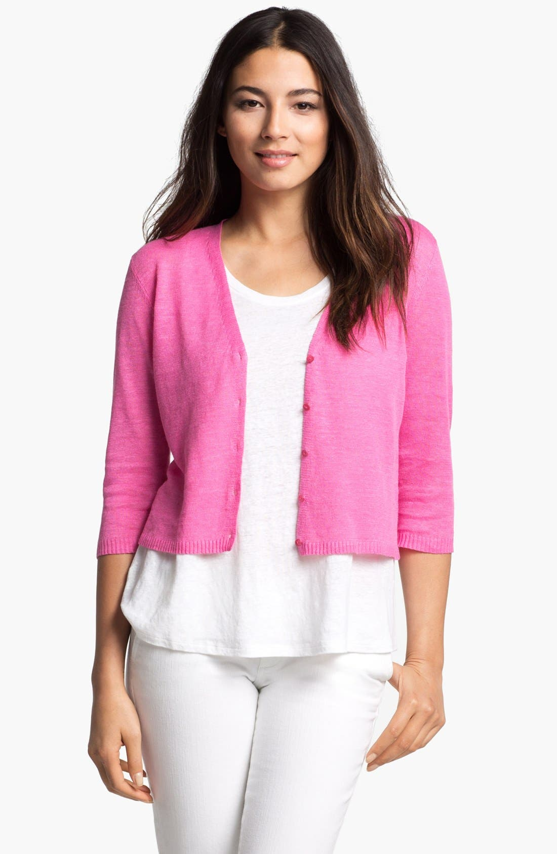 Alternate Image 1 Selected - Eileen Fisher Crop V-Neck Cardigan
