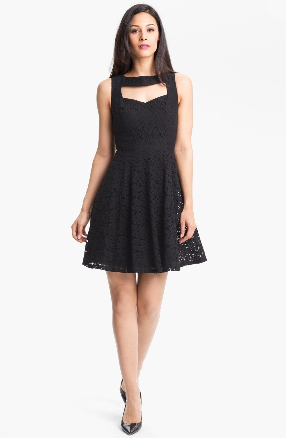 Alternate Image 1 Selected - Donna Morgan Sleeveless Lace Fit & Flare Dress