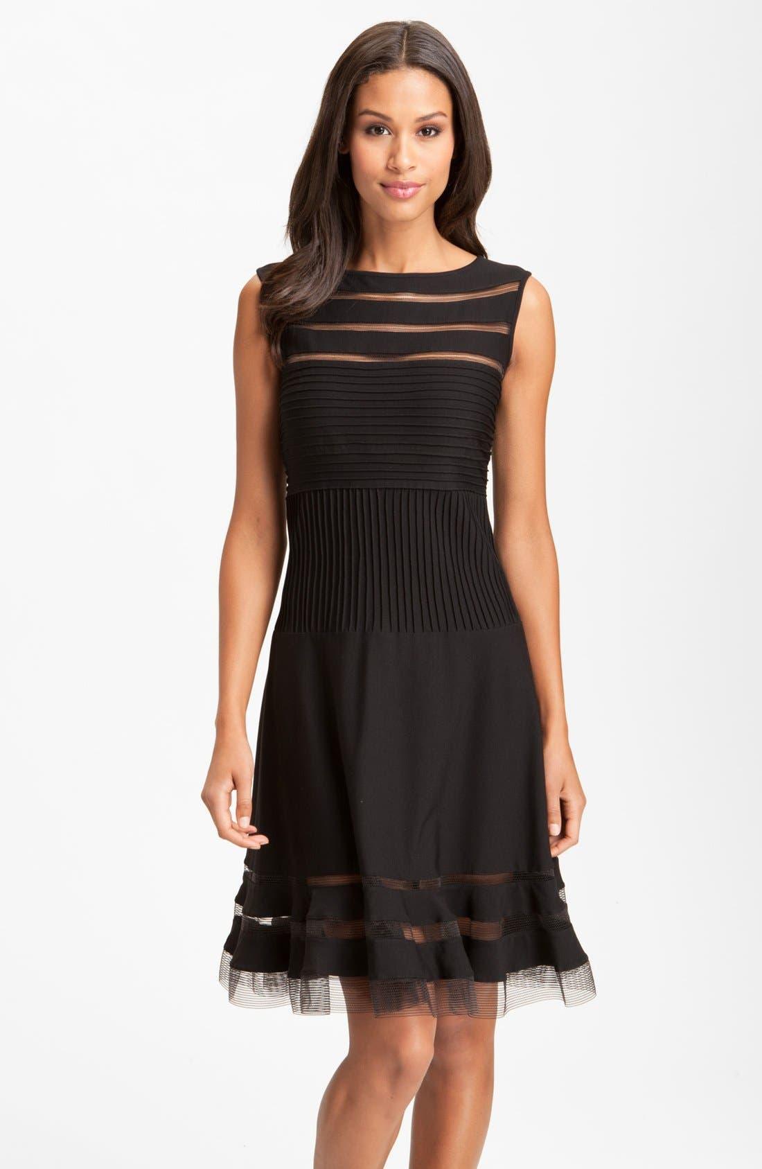 Alternate Image 1 Selected - Tadashi Shoji Sleeveless Mesh Stripe Jersey Dress (Regular & Petite)