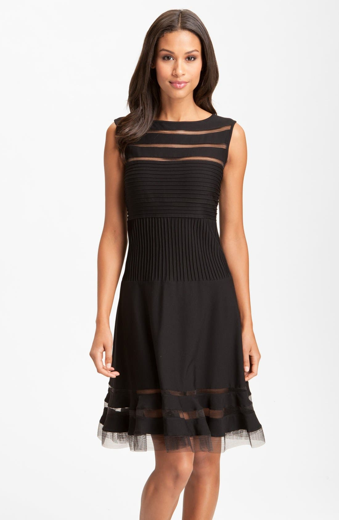 Main Image - Tadashi Shoji Sleeveless Mesh Stripe Jersey Dress (Regular & Petite)