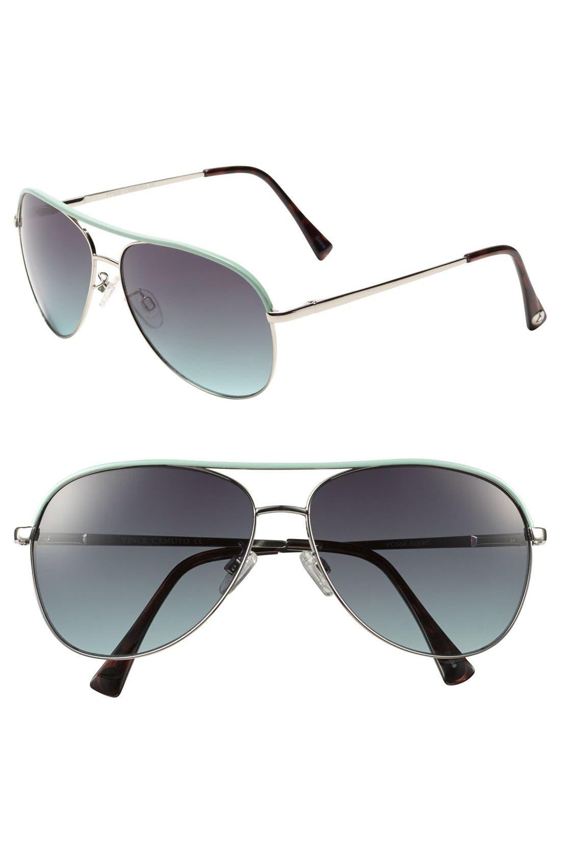 59mm Metal Aviator Sunglasses,                         Main,                         color, Gold Green