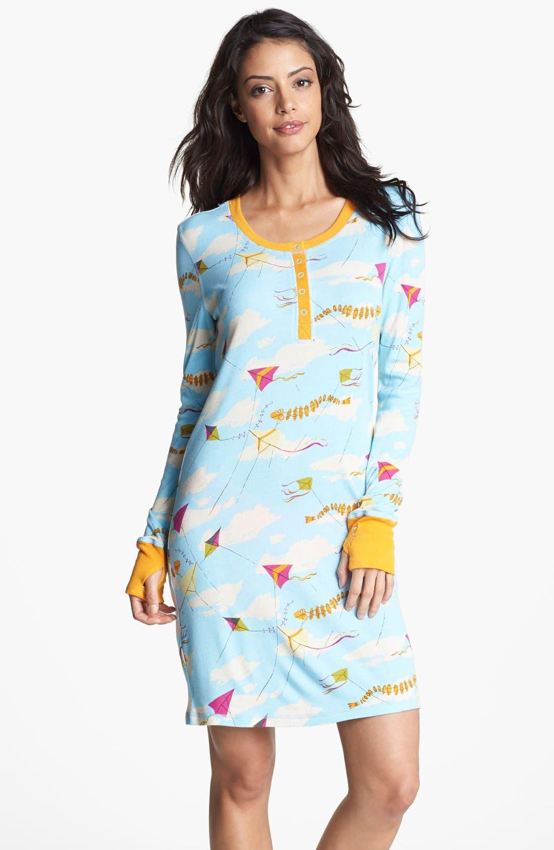 Alternate Image 1 Selected - Munki Munki Print Henley Sleep Shirt