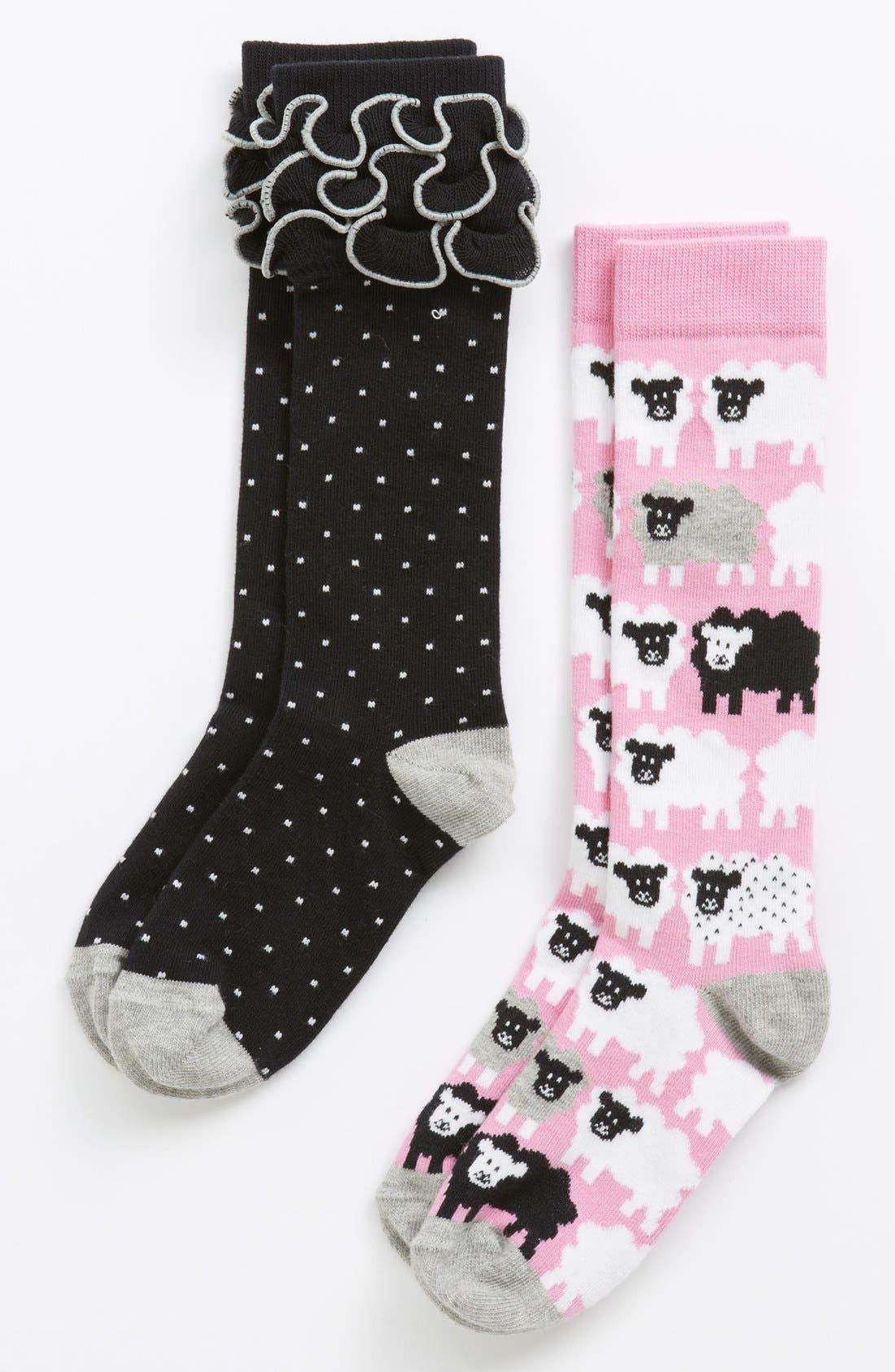 Main Image - Nordstrom 'Little Bo Sheep' Knee High Socks (2-Pack) (Toddler, Little Girls & Big Girls)
