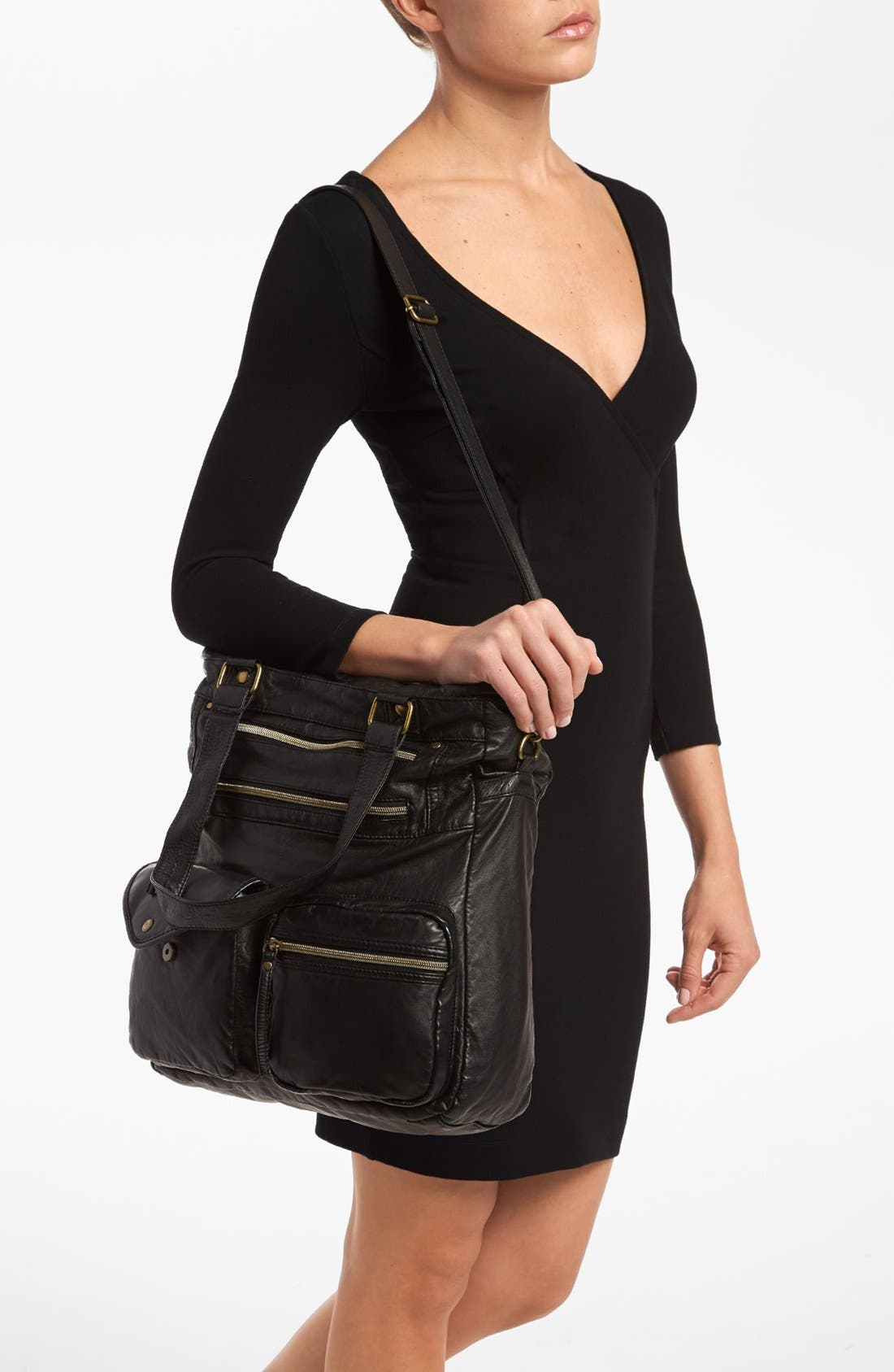 Alternate Image 2  - Lulu 'North South' Faux Leather Tote, Large (Online Only)