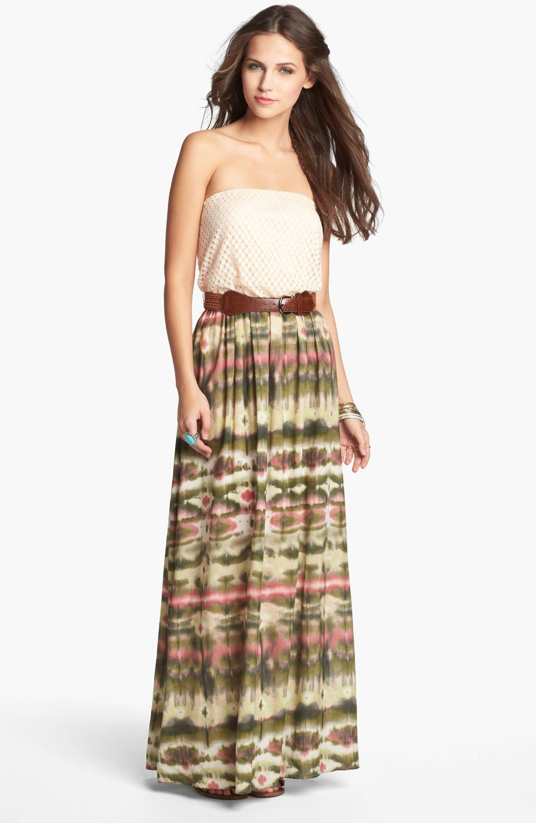 Main Image - As U Wish Crochet Top Strapless Maxi Dress (Juniors) (Online Only)