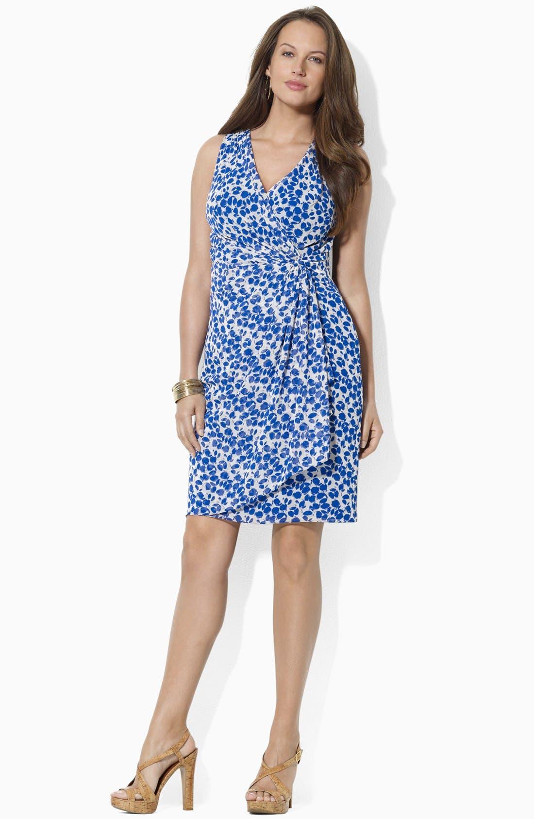 Alternate Image 3  - Lauren Ralph Lauren Print Faux Wrap Chiffon Dress (Plus Size)