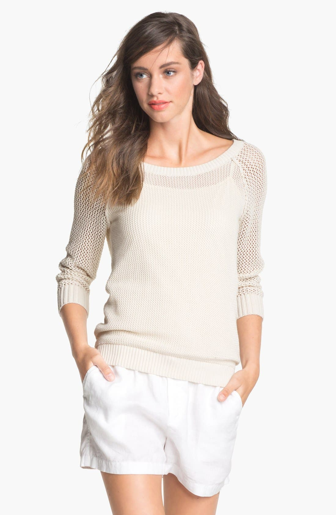 Alternate Image 1 Selected - Caslon® Open Knit Sweater (Regular & Petite)