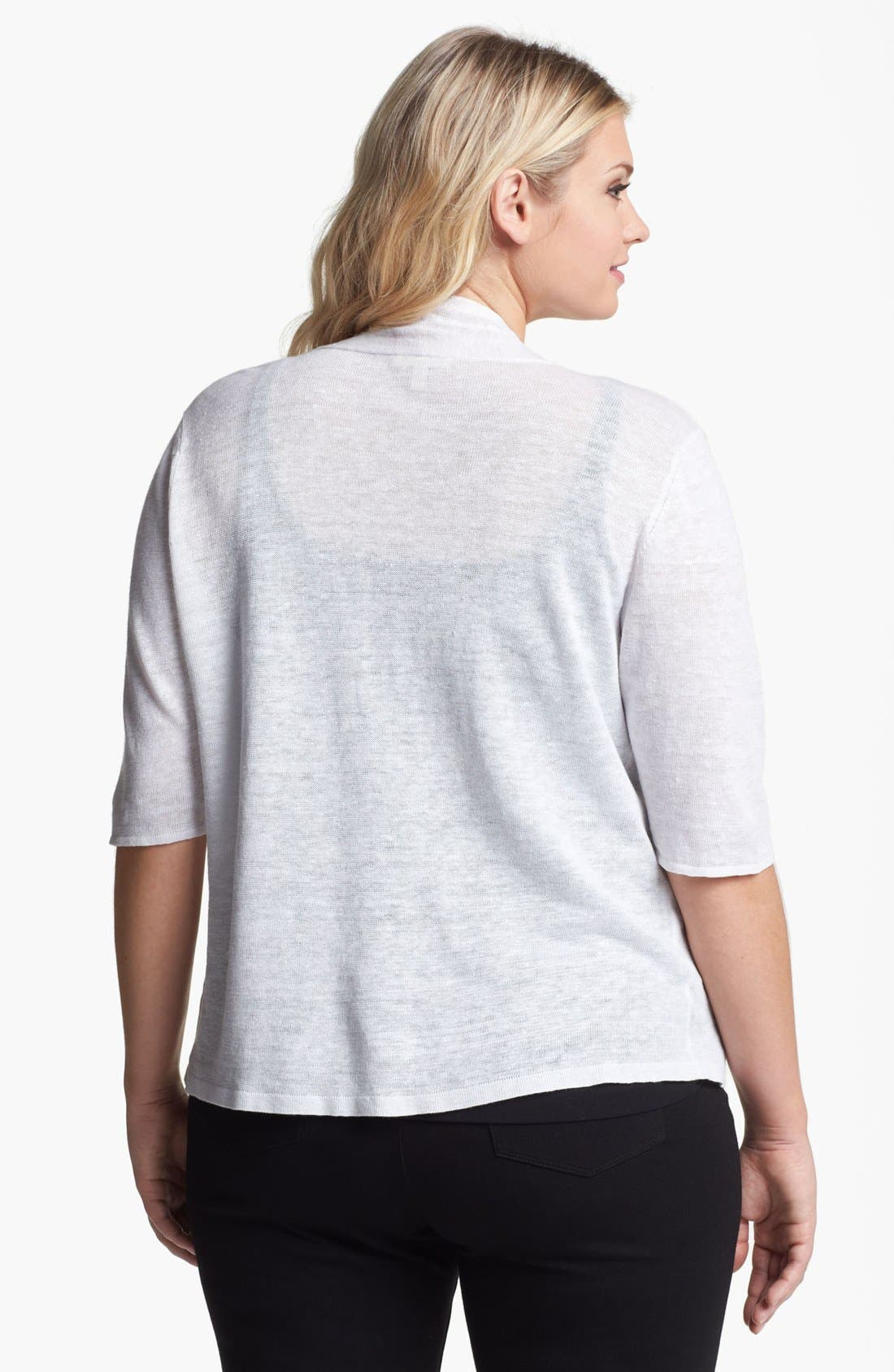 Alternate Image 2  - Eileen Fisher Elbow Sleeve Linen Cardigan (Plus Size)