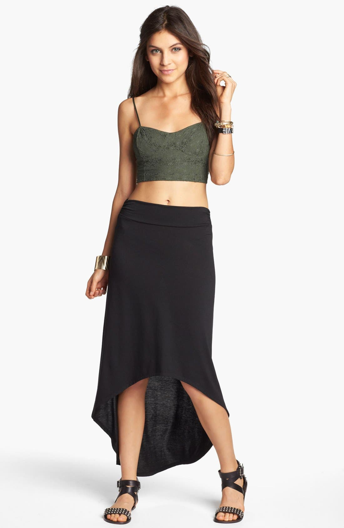 Main Image - Lily White High/Low Hem Maxi Skirt (Juniors)