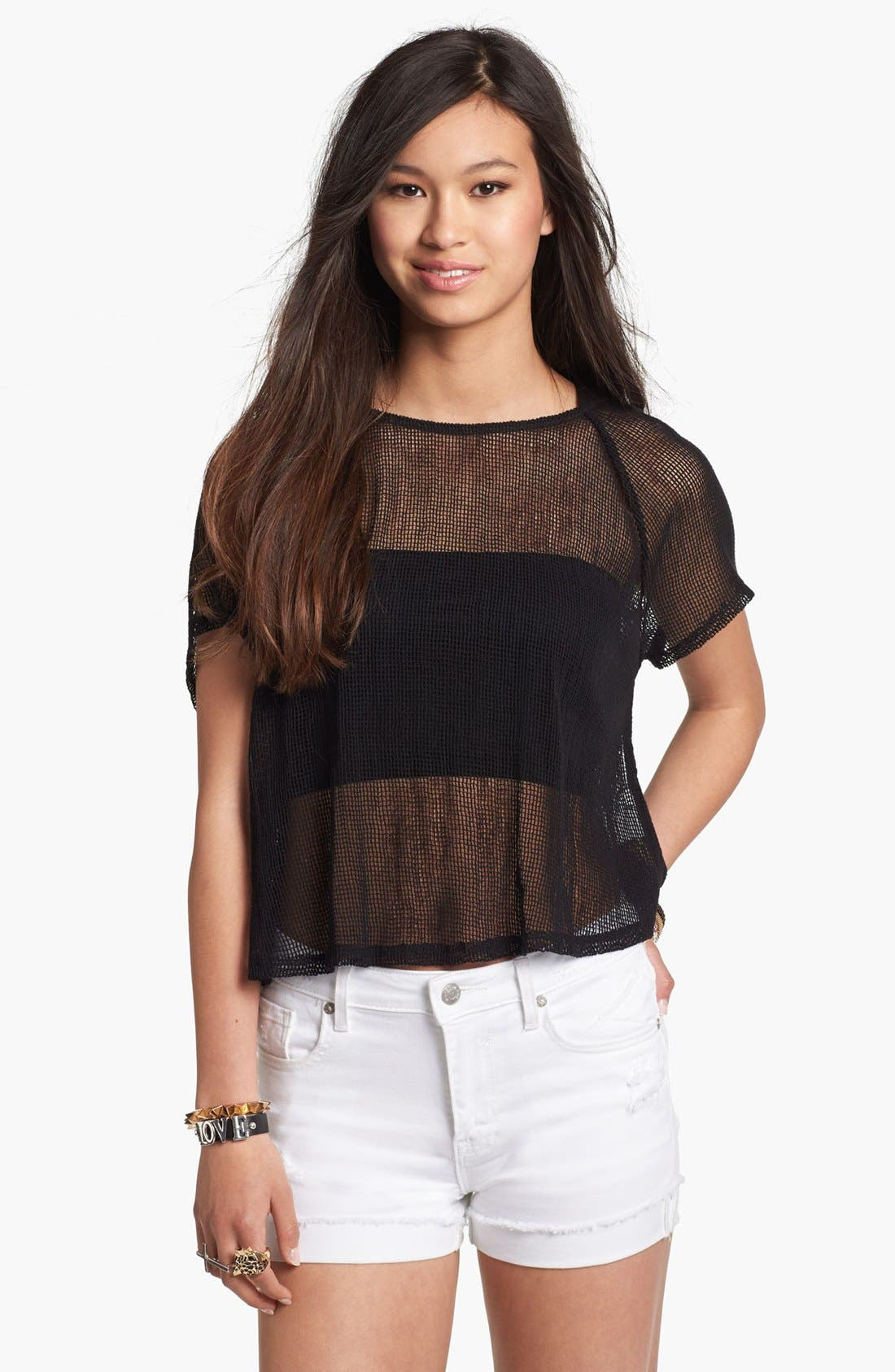 Main Image - Lush Cutout Knit Crop Top (Juniors) (Online Only)