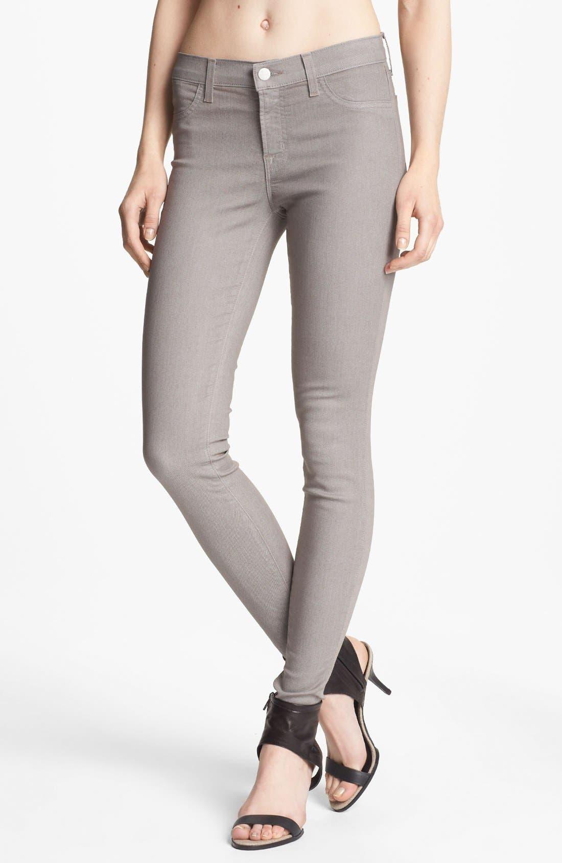 Main Image - J Brand Coated Metallic Skinny Jeans (Coated Limestone)