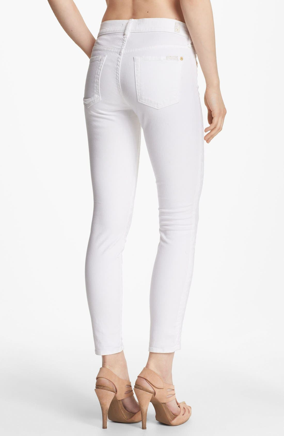 Alternate Image 2  - 7 For All Mankind® Jacquard Crop Skinny Jeans (White)