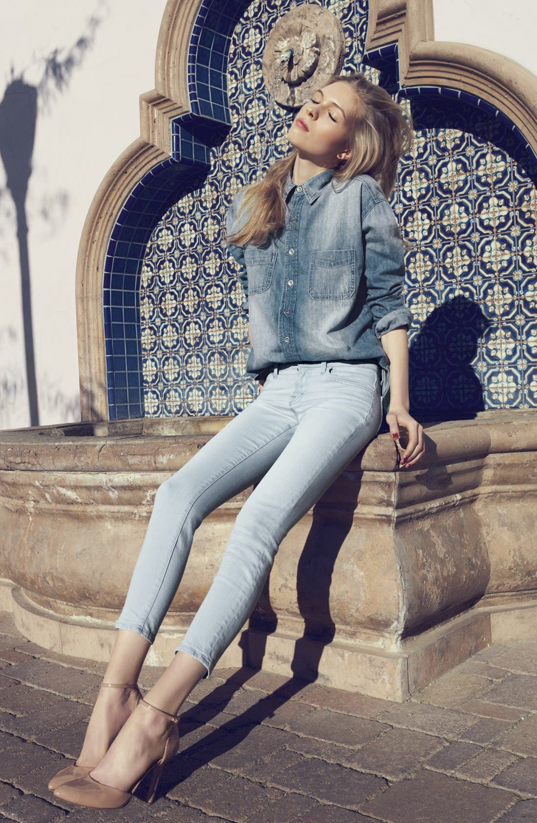 Alternate Image 1 Selected - J Brand Boyfriend Shirt & Cropped Skinny Pants