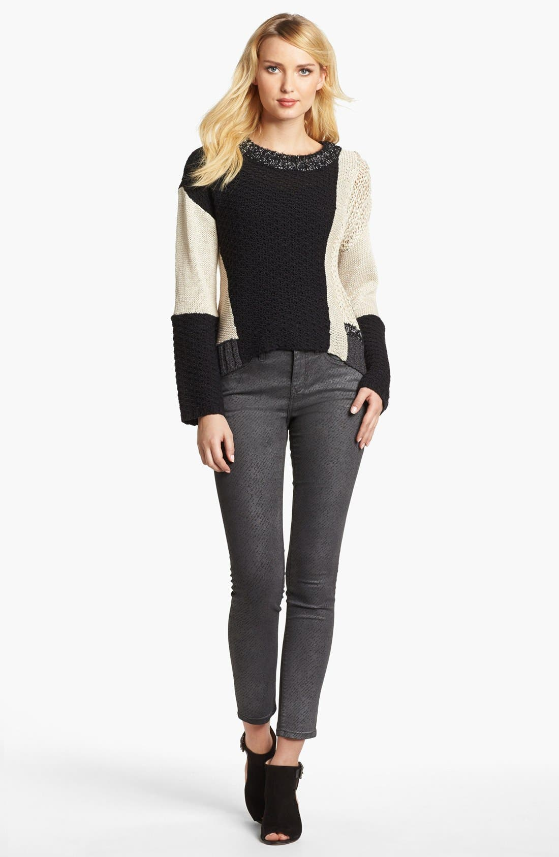 Alternate Image 1 Selected - Jag Jeans 'Miranda' Metallic Coated Print Skinny Jeans (Regular & Petite)