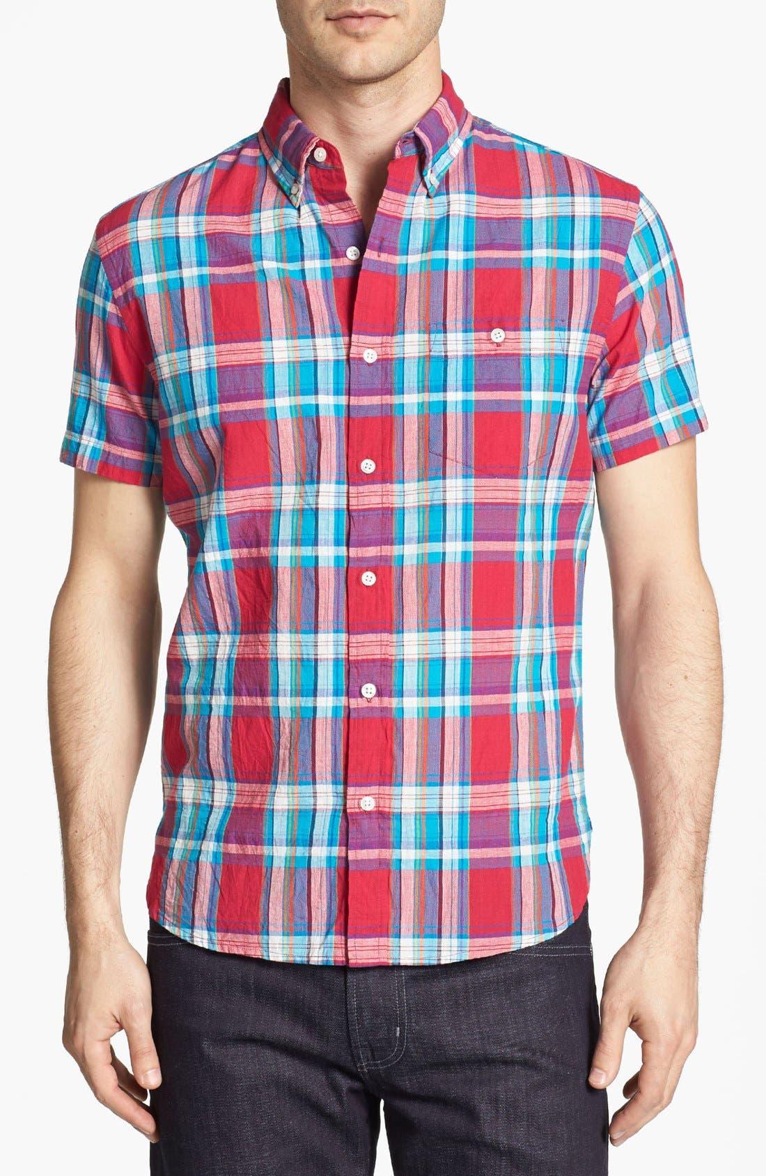 Alternate Image 1 Selected - Bonobos Madras Plaid Standard Fit Short Sleeve Sport Shirt