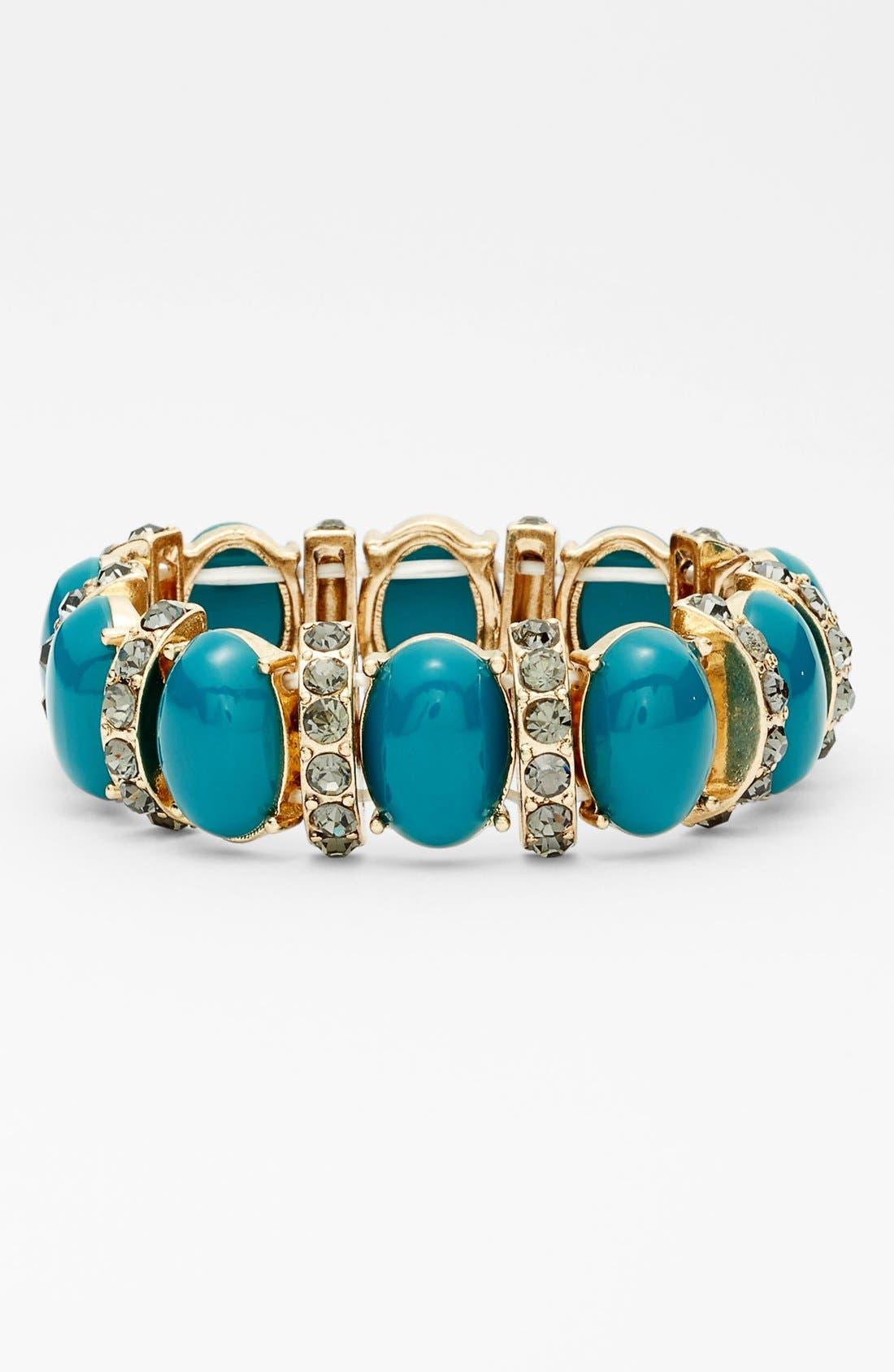 Main Image - Tasha Oval Stone & Crystal Bar Stretch Bracelet