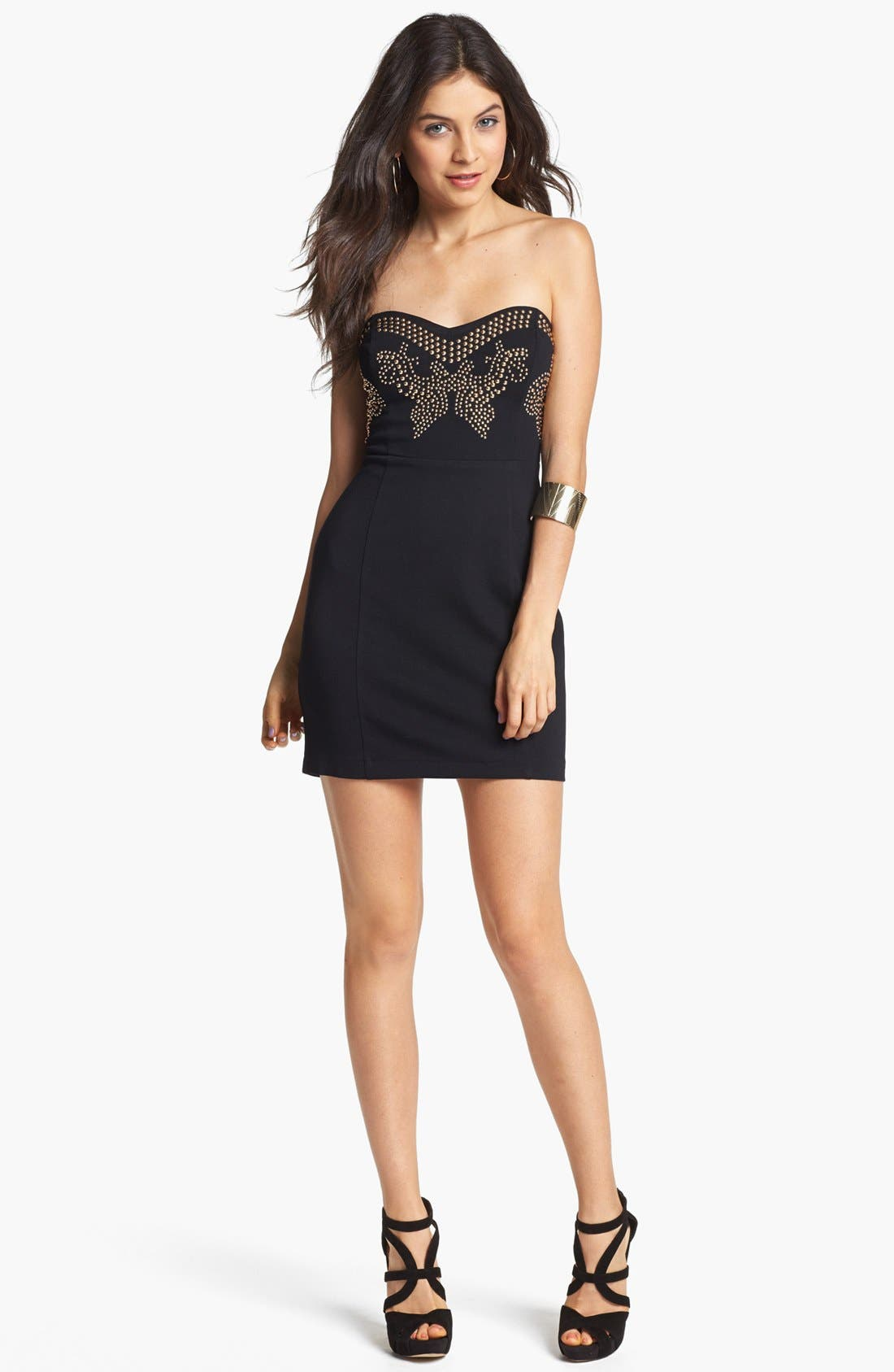 Alternate Image 1 Selected - Lush Embellished Body-Con Dress (Juniors) (Online Only)