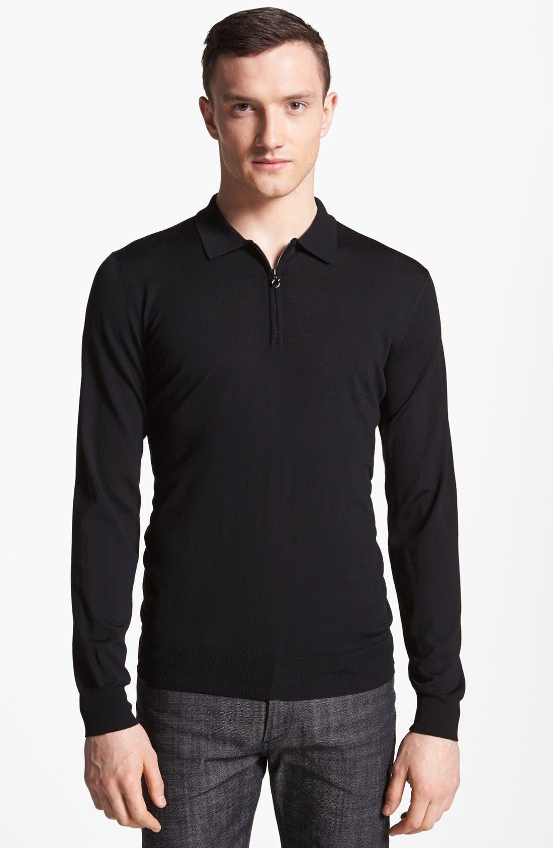 Main Image - Salvatore Ferragamo Half Zip Polo Sweater
