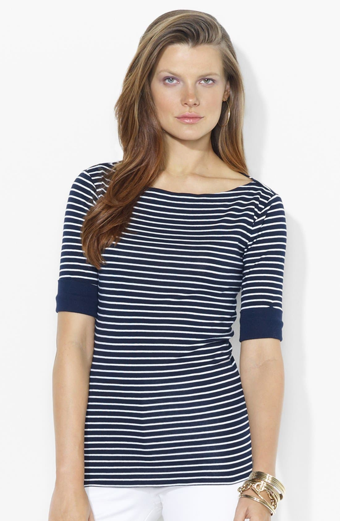 Alternate Image 1 Selected - Lauren Ralph Lauren Bateau Neck Top (Petite) (Online Only)