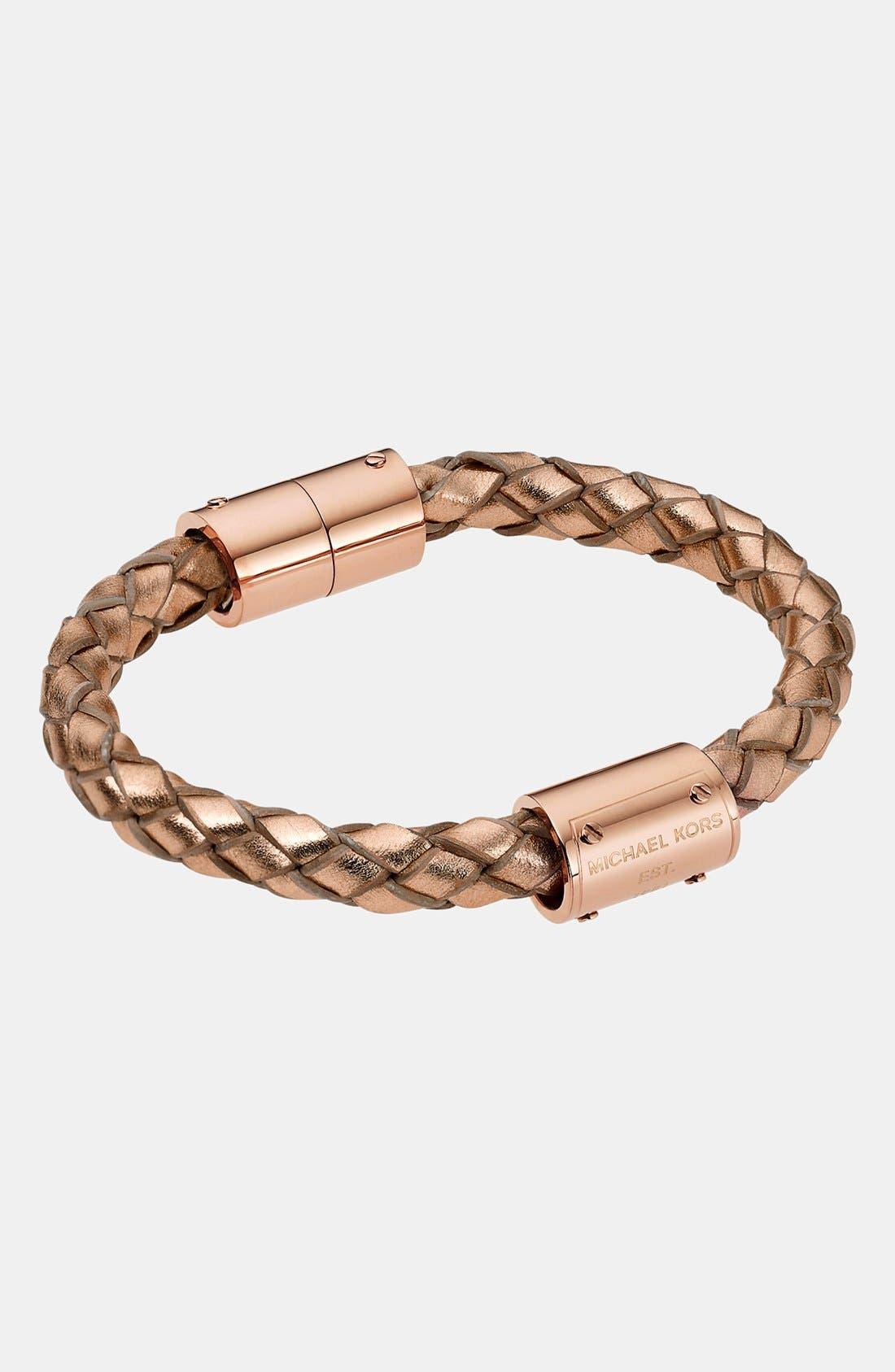 Alternate Image 1 Selected - Michael Kors 'Skorpios' Metallic Leather Rope Bracelet