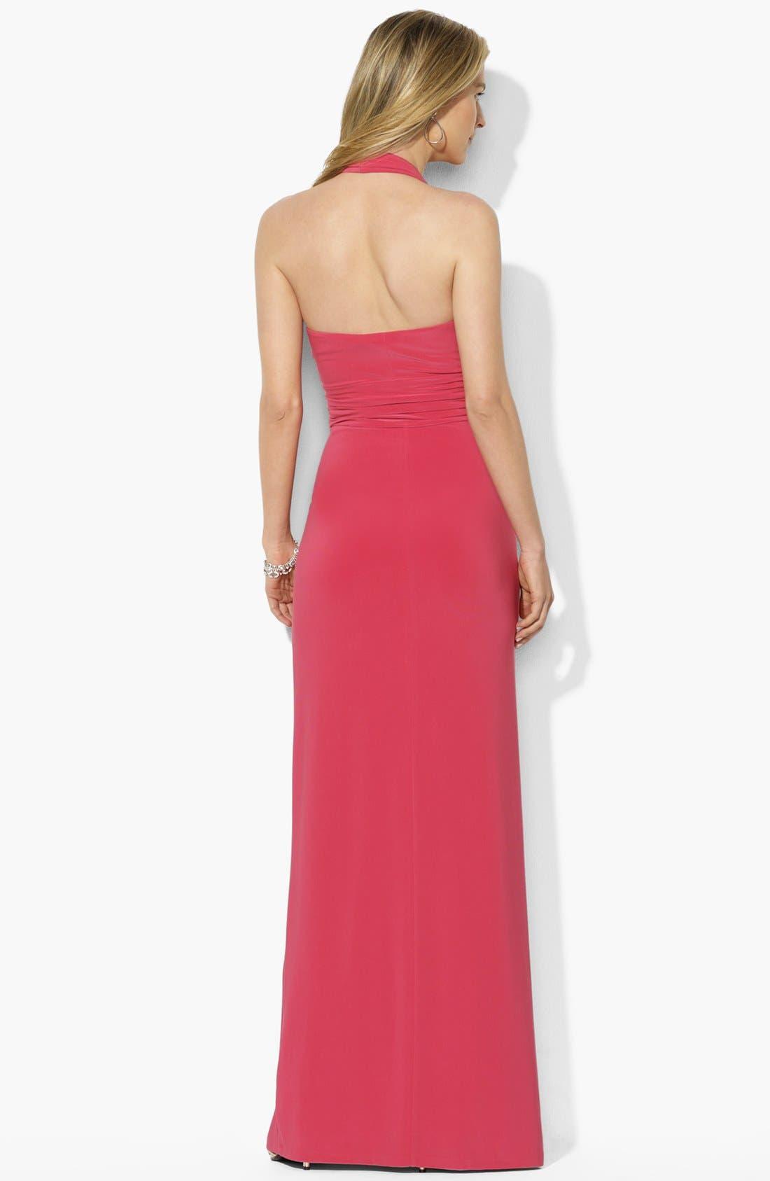 Alternate Image 2  - Lauren Ralph Lauren Matte Jersey Halter Dress