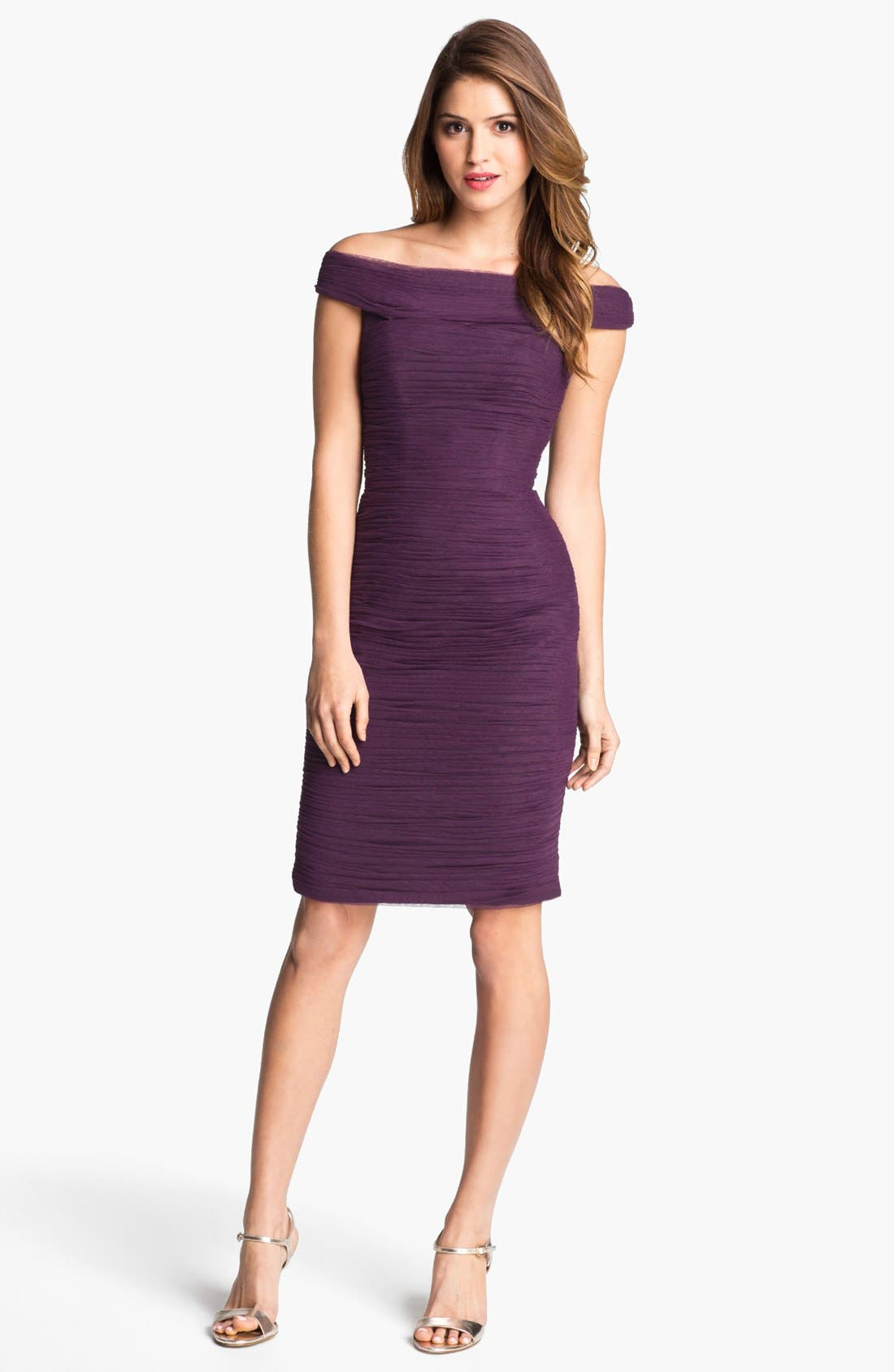 Main Image - ML Monique Lhuillier Shirred Off Shoulder Sheath Dress