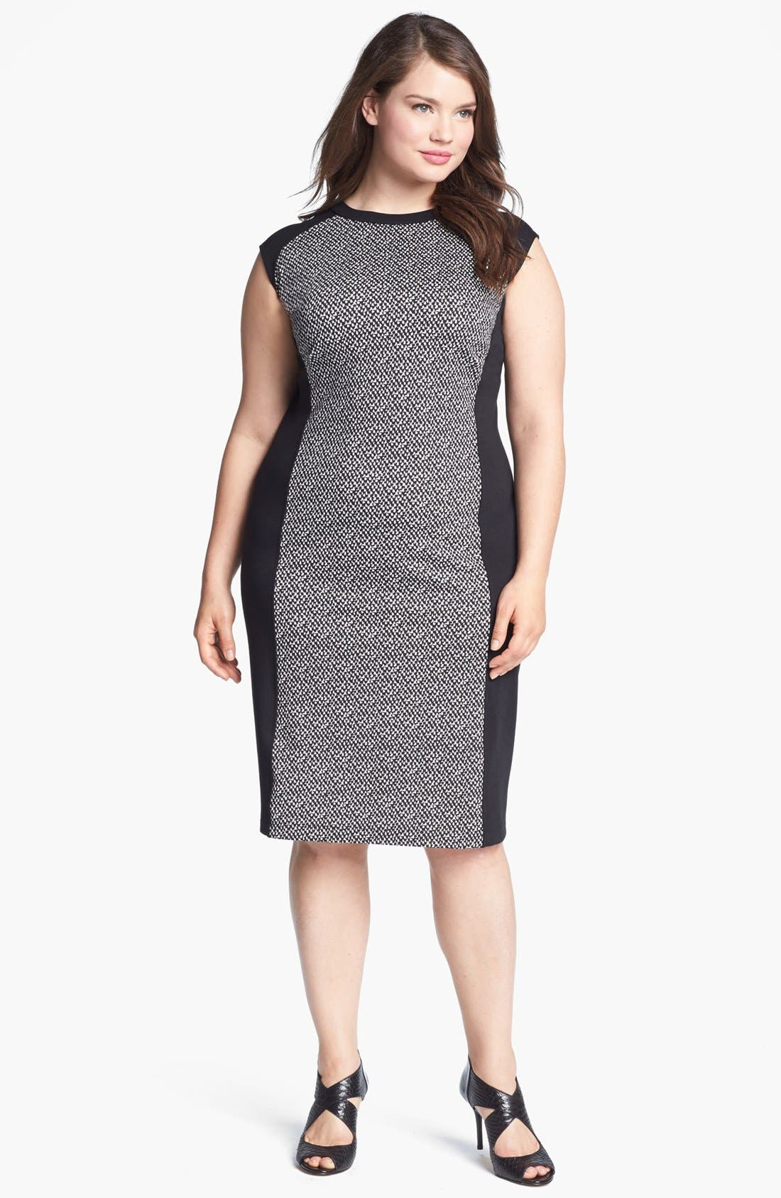 Main Image - Calvin Klein Colorblock Ponte Sheath Dress (Plus Size) (Online Only)