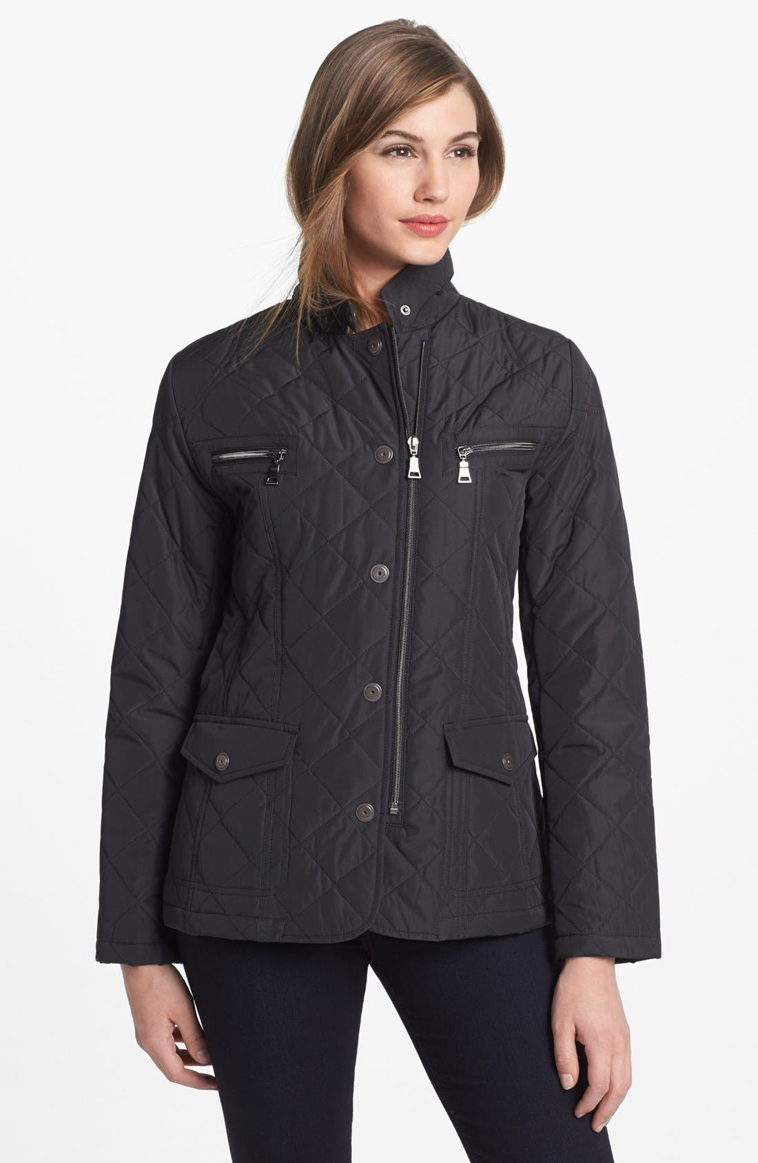 Main Image - Kristen Blake Zip & Snap Front Quilted Jacket (Regular & Petite)