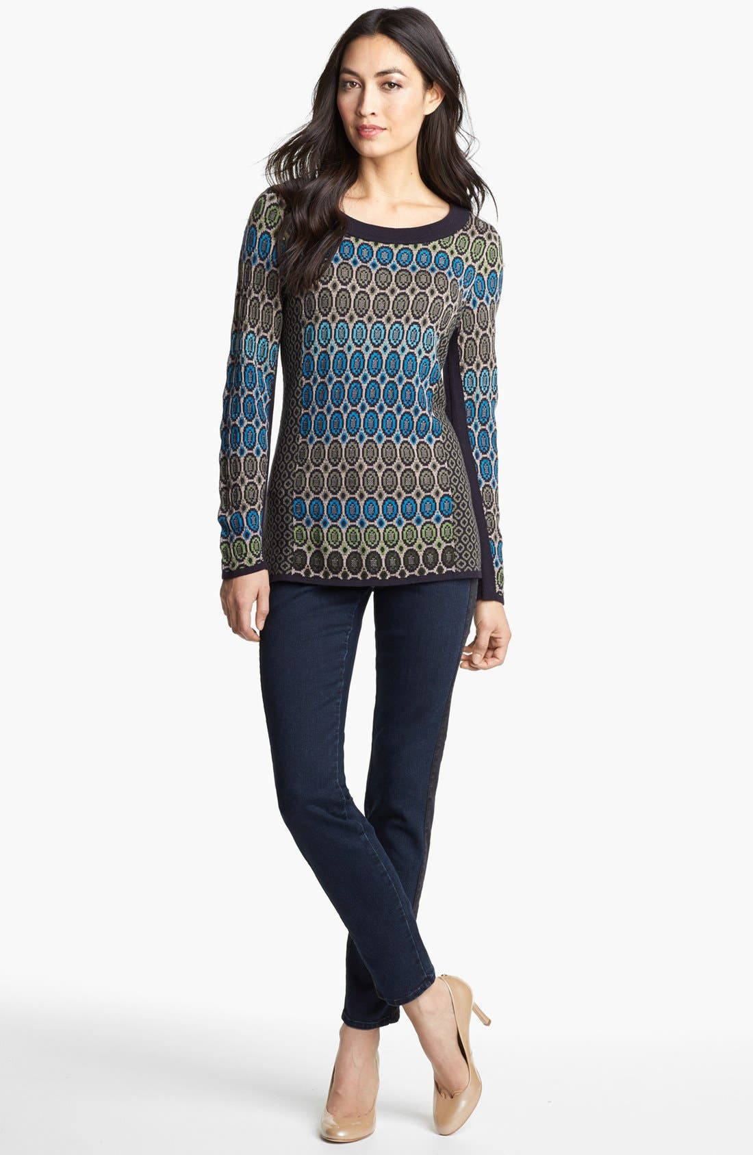 Nic + Zoe 'Geo Jacquard' Sweater,                             Alternate thumbnail 2, color,                             Multi