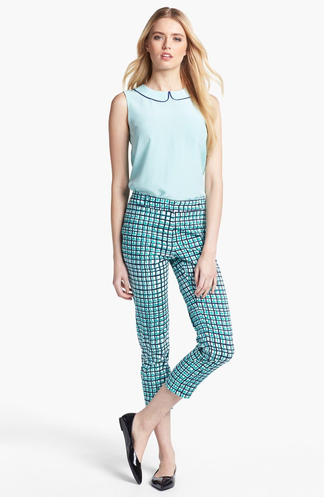 Alternate Image 1 Selected - kate spade new york silk top & capri pants