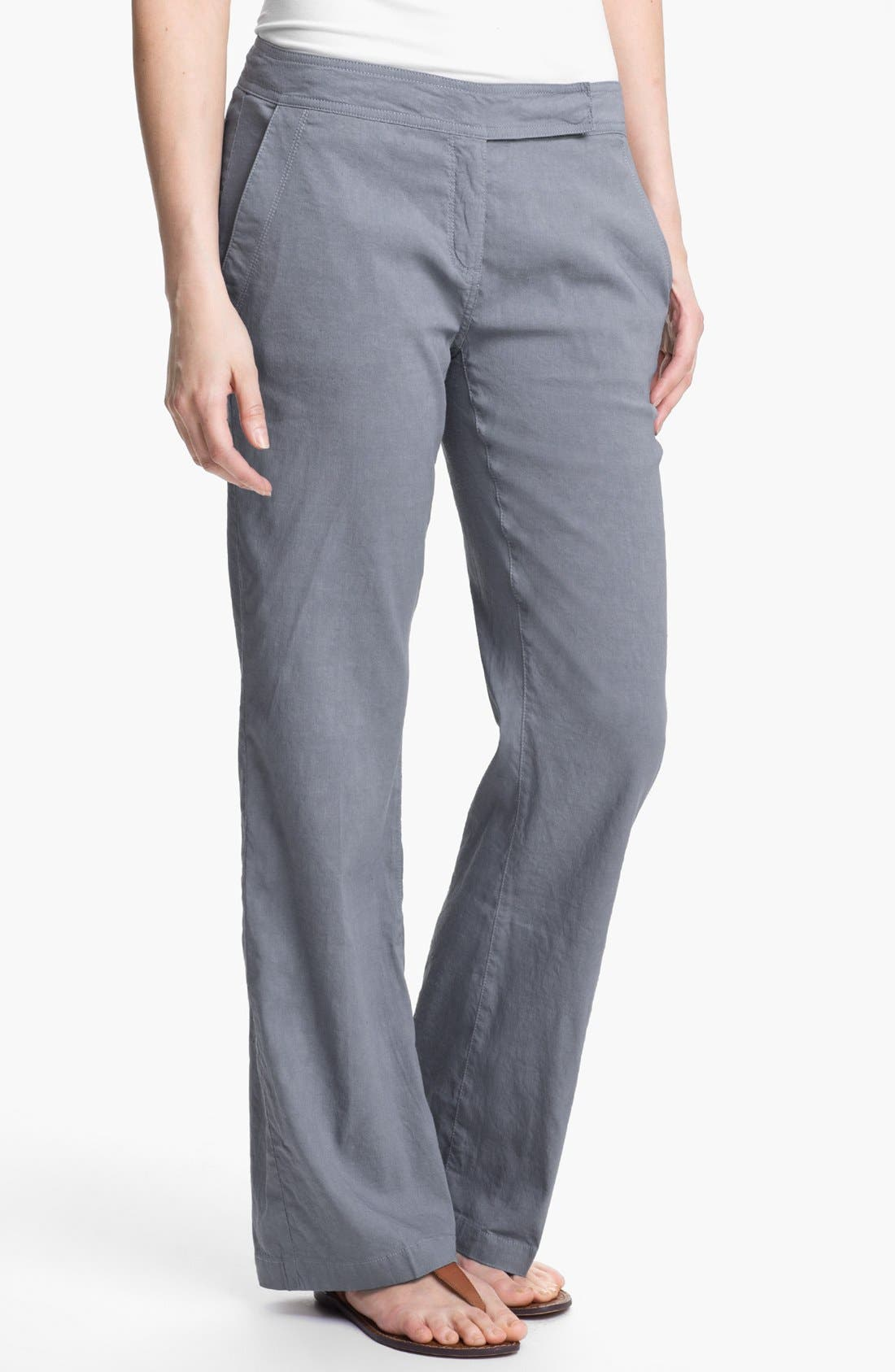Alternate Image 1 Selected - Eileen Fisher Linen Blend Trousers (Regular & Petite)