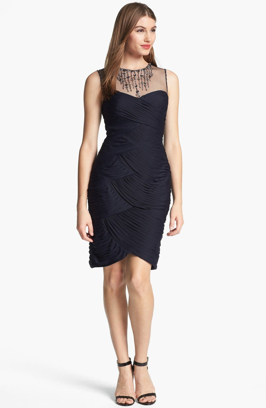 Main Image - Adrianna Papell Embellished Tiered Pleat Dress