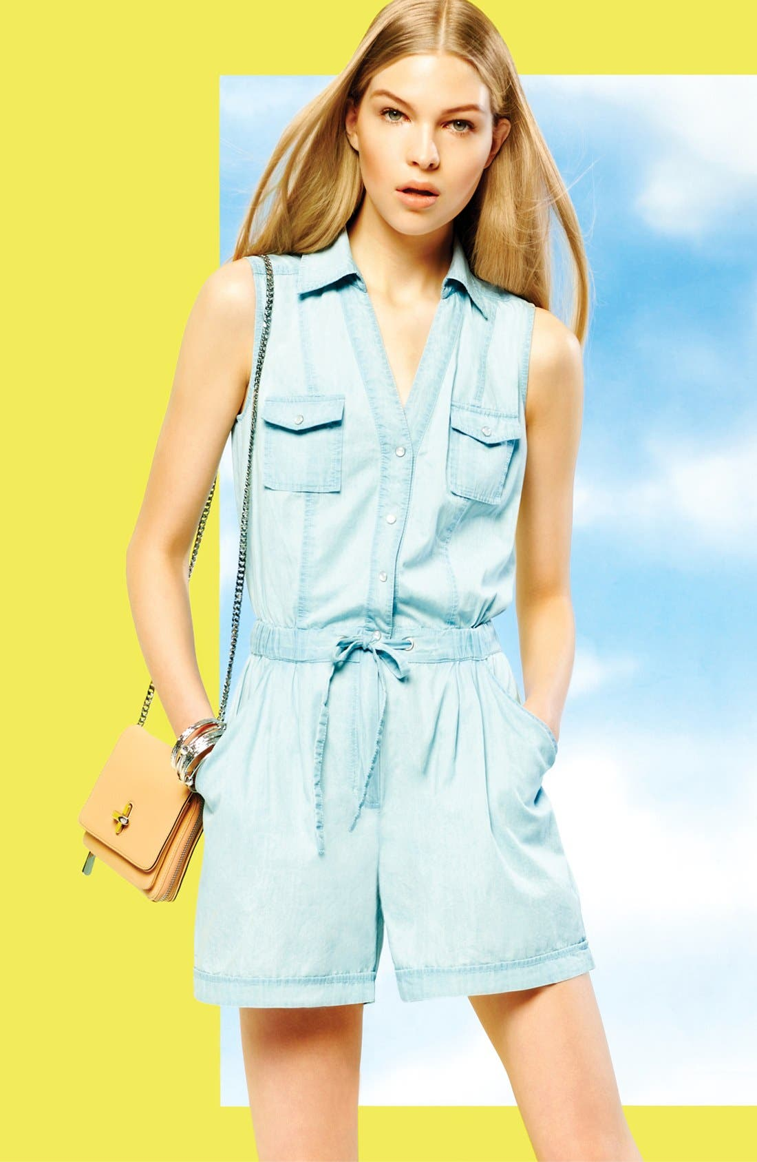 Alternate Image 3  - Two by Vince Camuto Chambray Romper