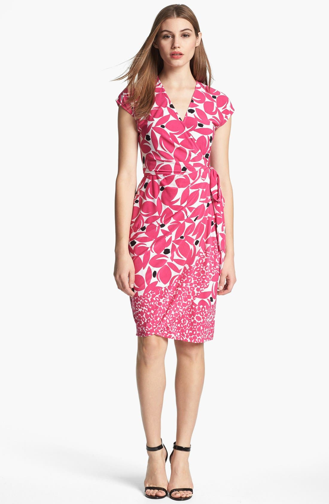 Alternate Image 1 Selected - Maggy London Print Cap Sleeve Jersey Wrap Dress