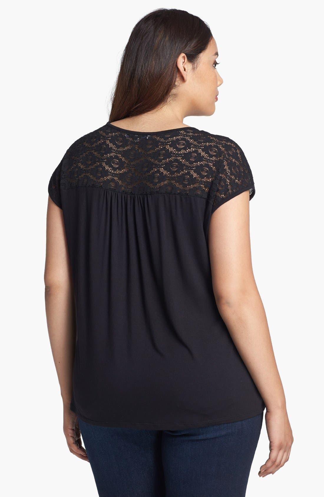 Alternate Image 2  - Sejour Lace Detail Knit Tee (Plus Size)