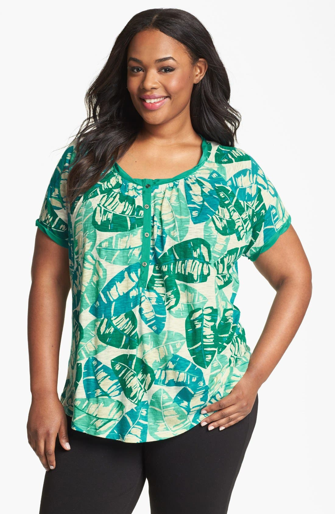 Alternate Image 1 Selected - Lucky Brand 'Kaylee' Palm Print Top (Plus Size)