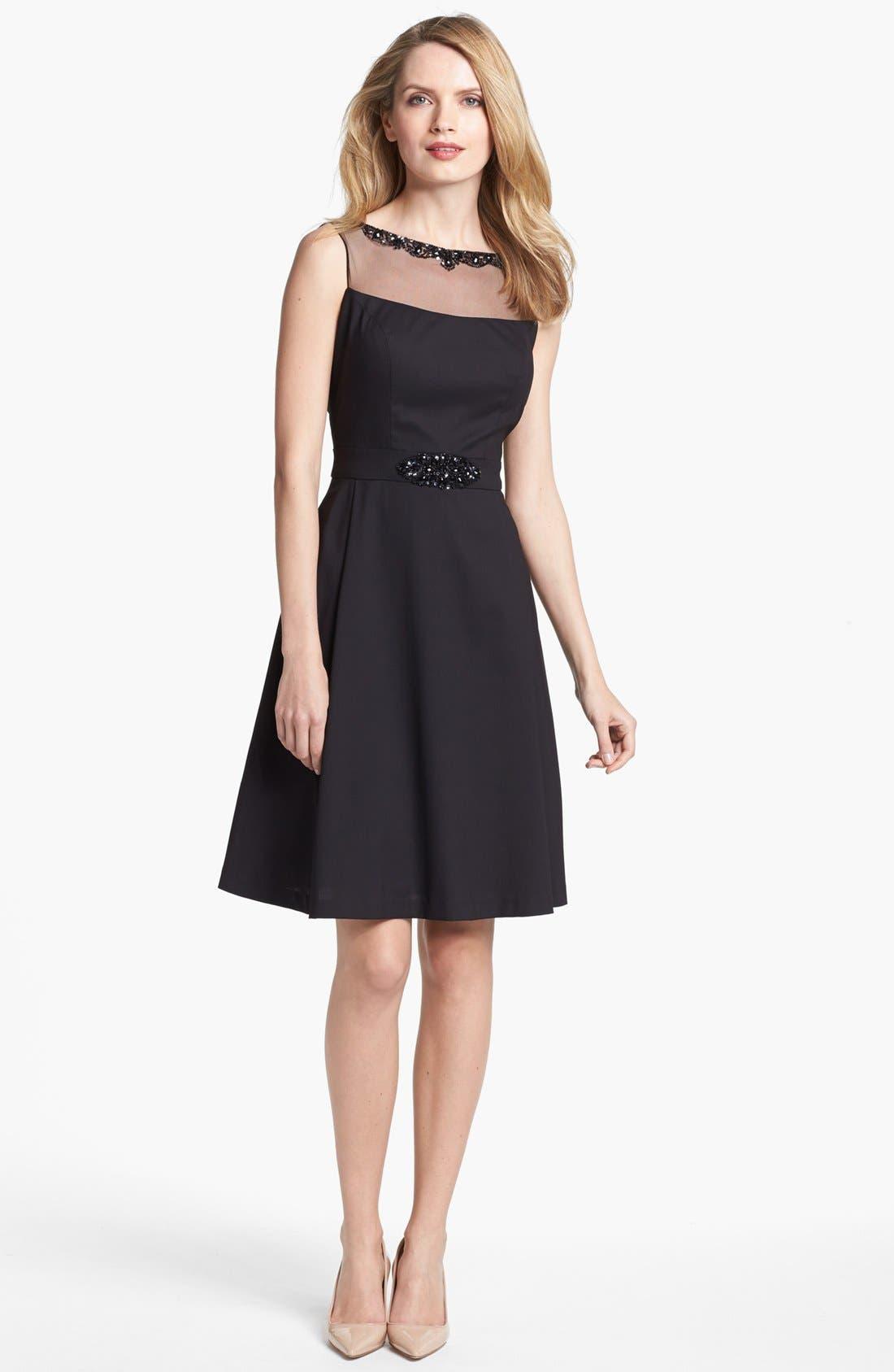 Main Image - Patra Embellished Sleeveless Fit & Flare Dress (Regular & Petite)