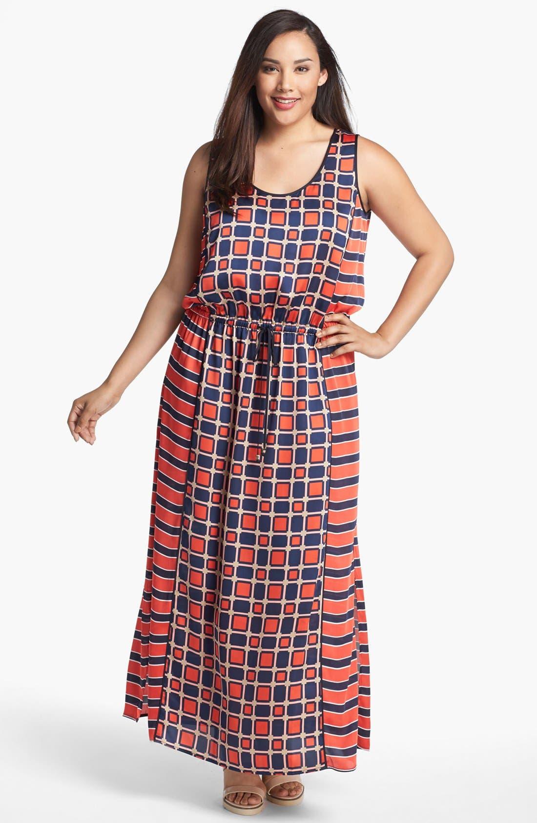 Main Image - MICHAEL Michael Kors 'Soho Square' Sleeveless Maxi Dress (Plus Size)